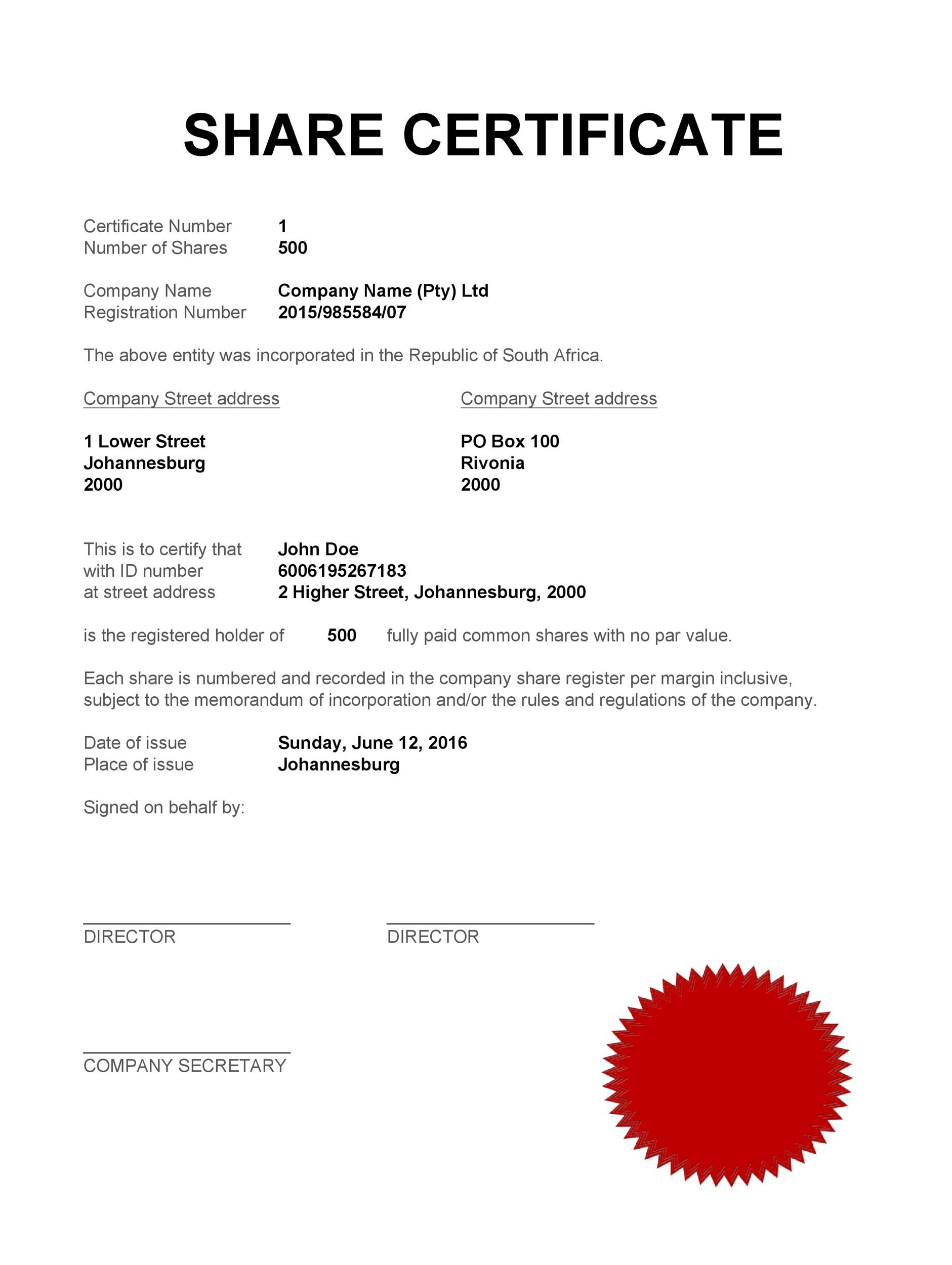 Printable Stock Certificate Template 34  Certificate Templates For Free
