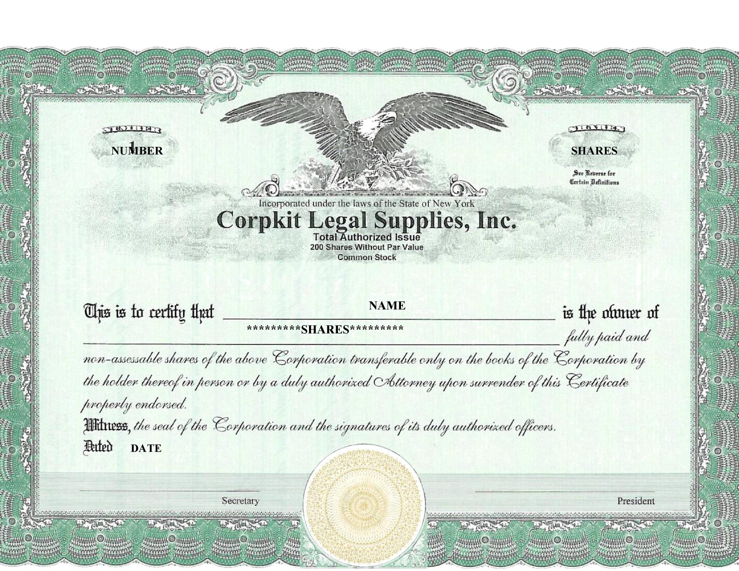Sample Share Certificate Template
