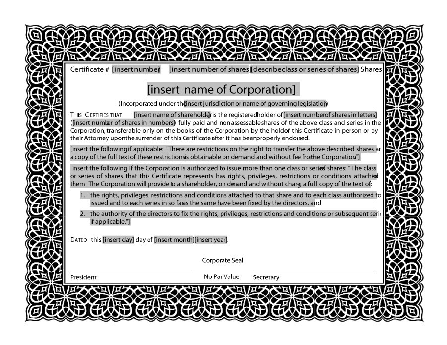 Free Stock Certificate Templates Word PDF Template Lab - Corporate stock certificates template free
