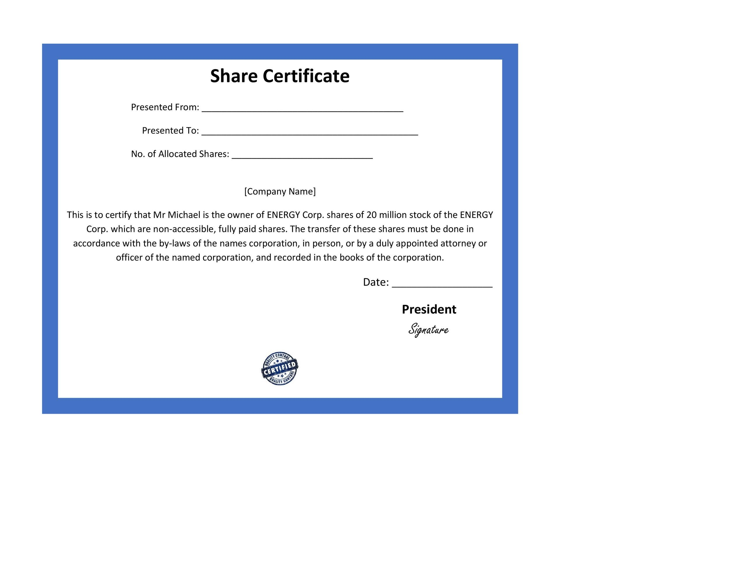 Magnificent share certificates template contemporary example 40 free stock certificate templates word pdf template lab yadclub Images
