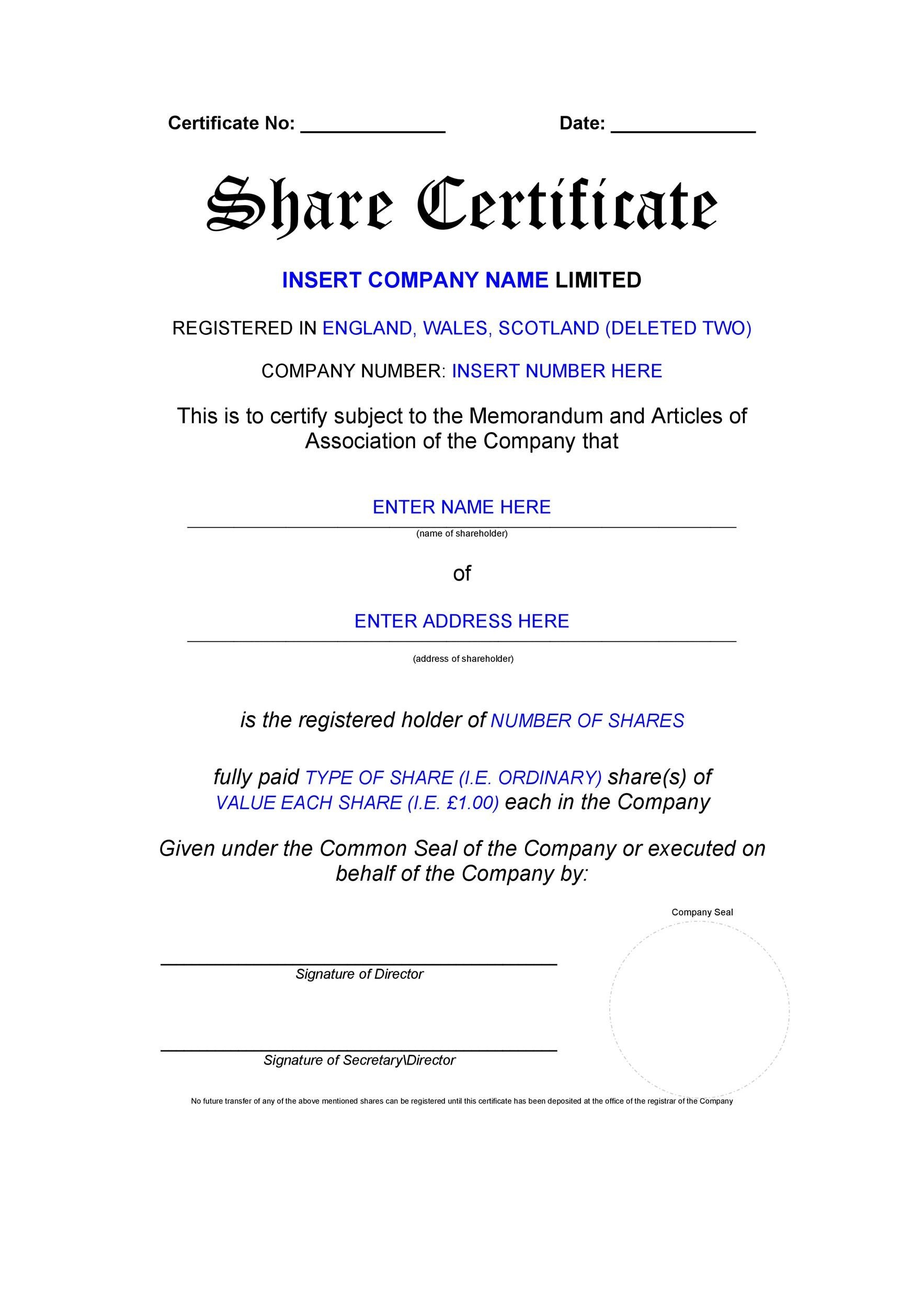dividend certificate template - uk share certificate template format of a business