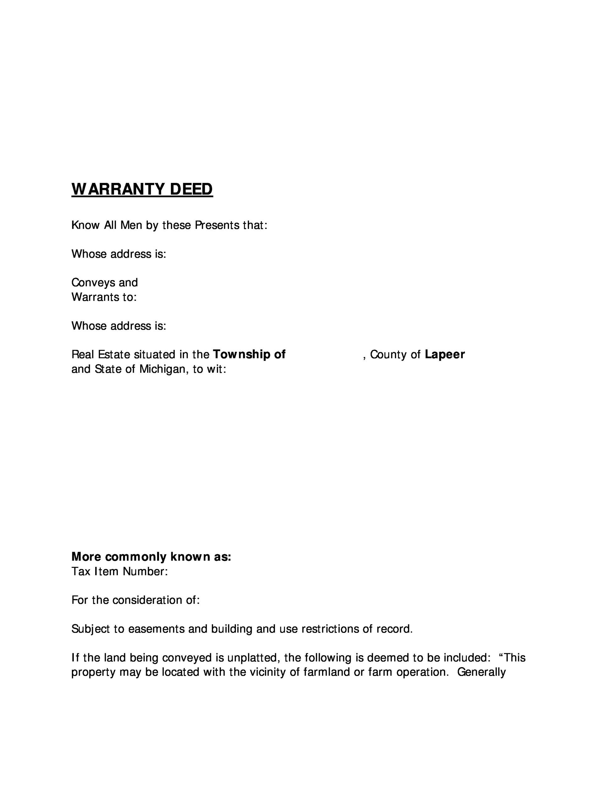 Free Warranty deed template 01