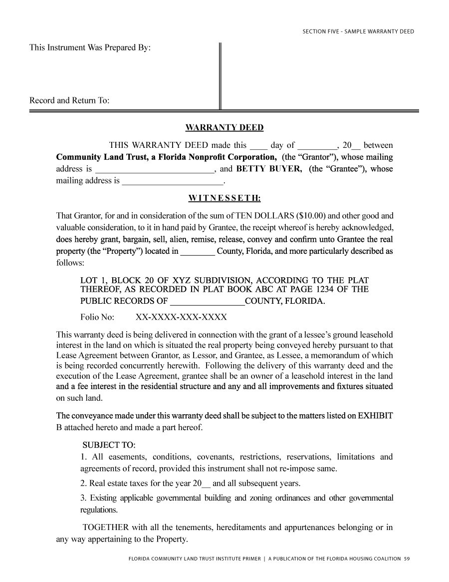 Wonderful Printable Warranty Deed Template 03