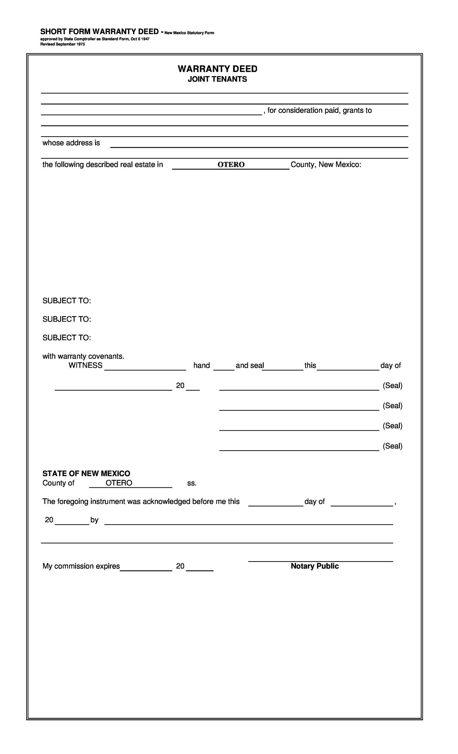 Free Warranty deed template 08