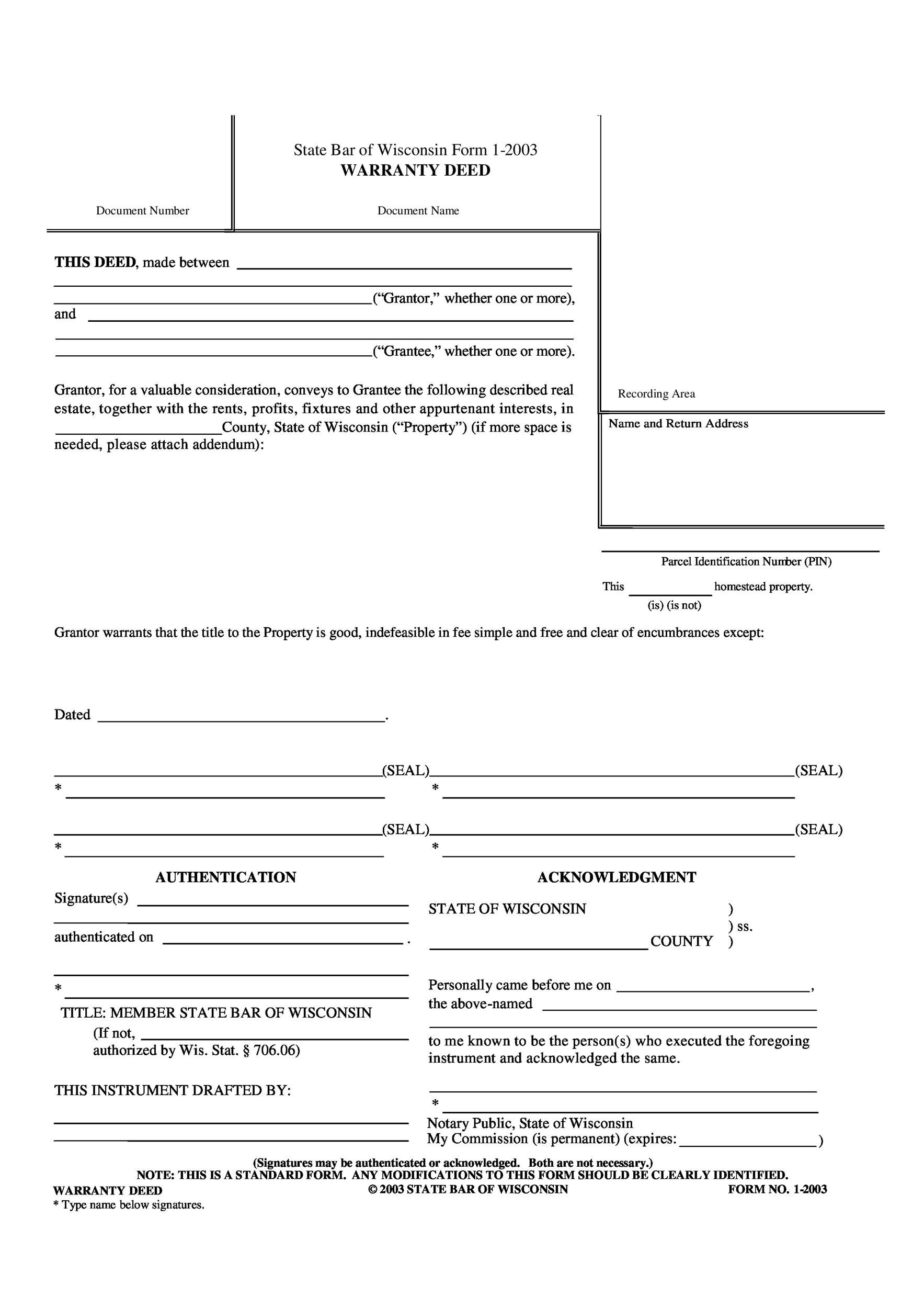 Free Warranty deed template 09