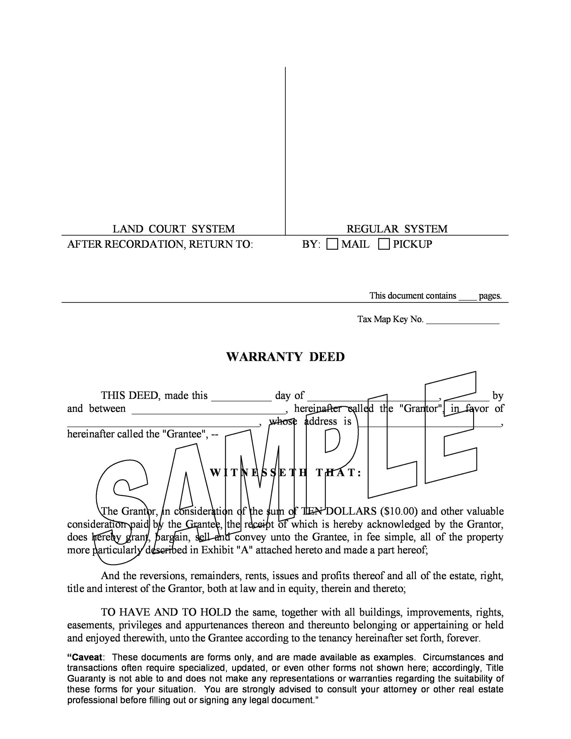 Free Warranty deed template 12