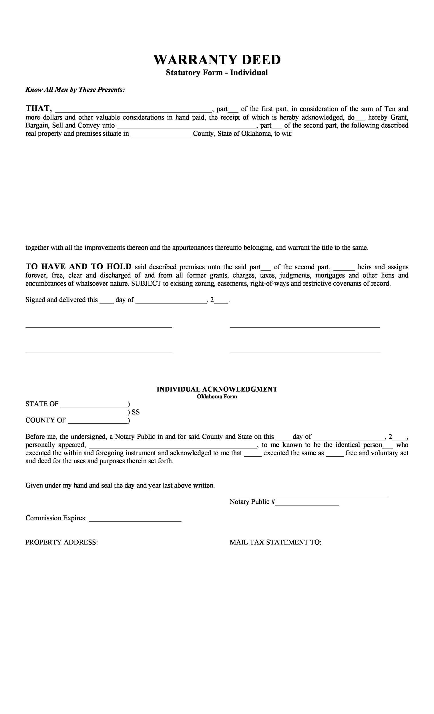 Free Warranty deed template 13