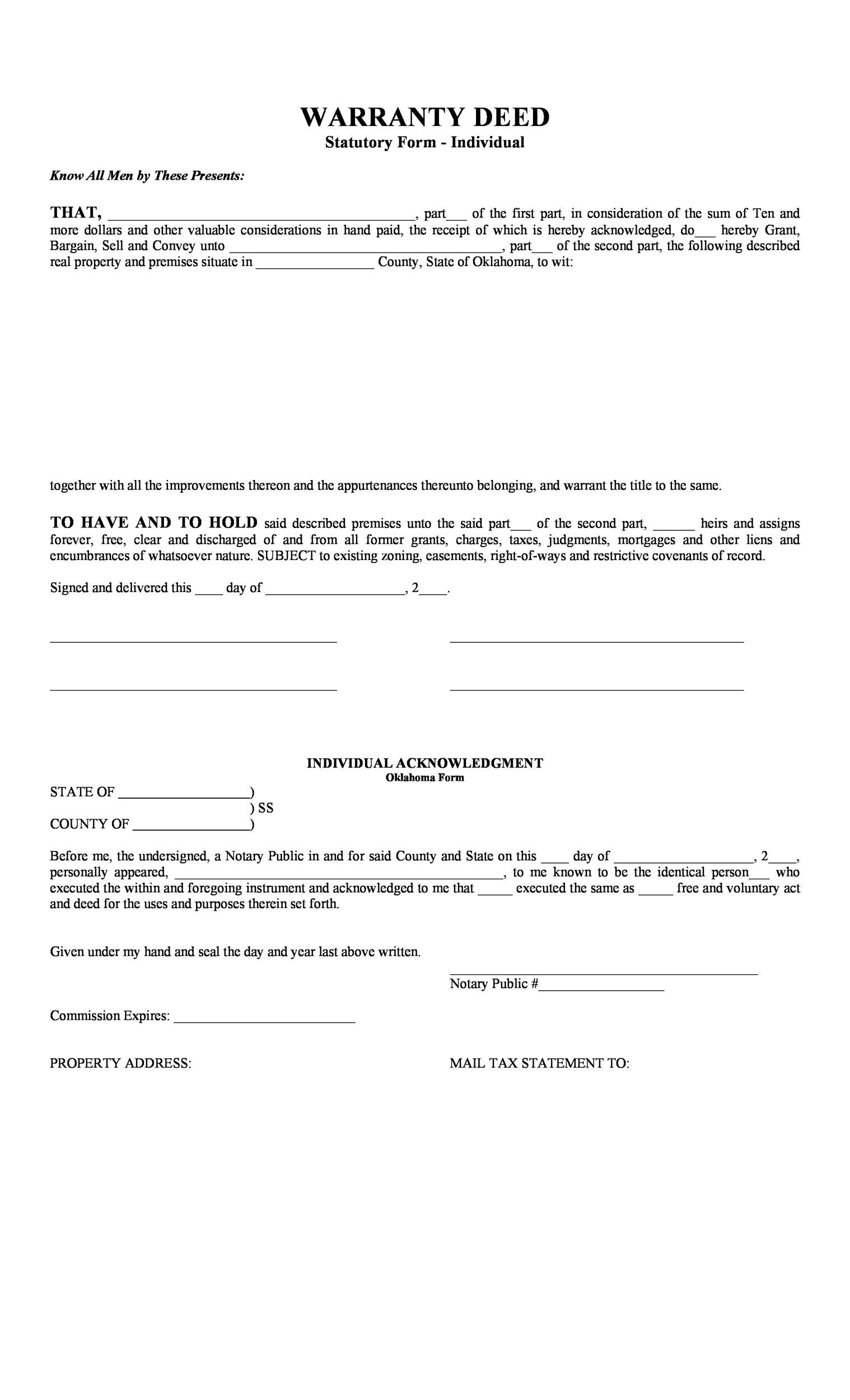 Free Warranty deed template 13