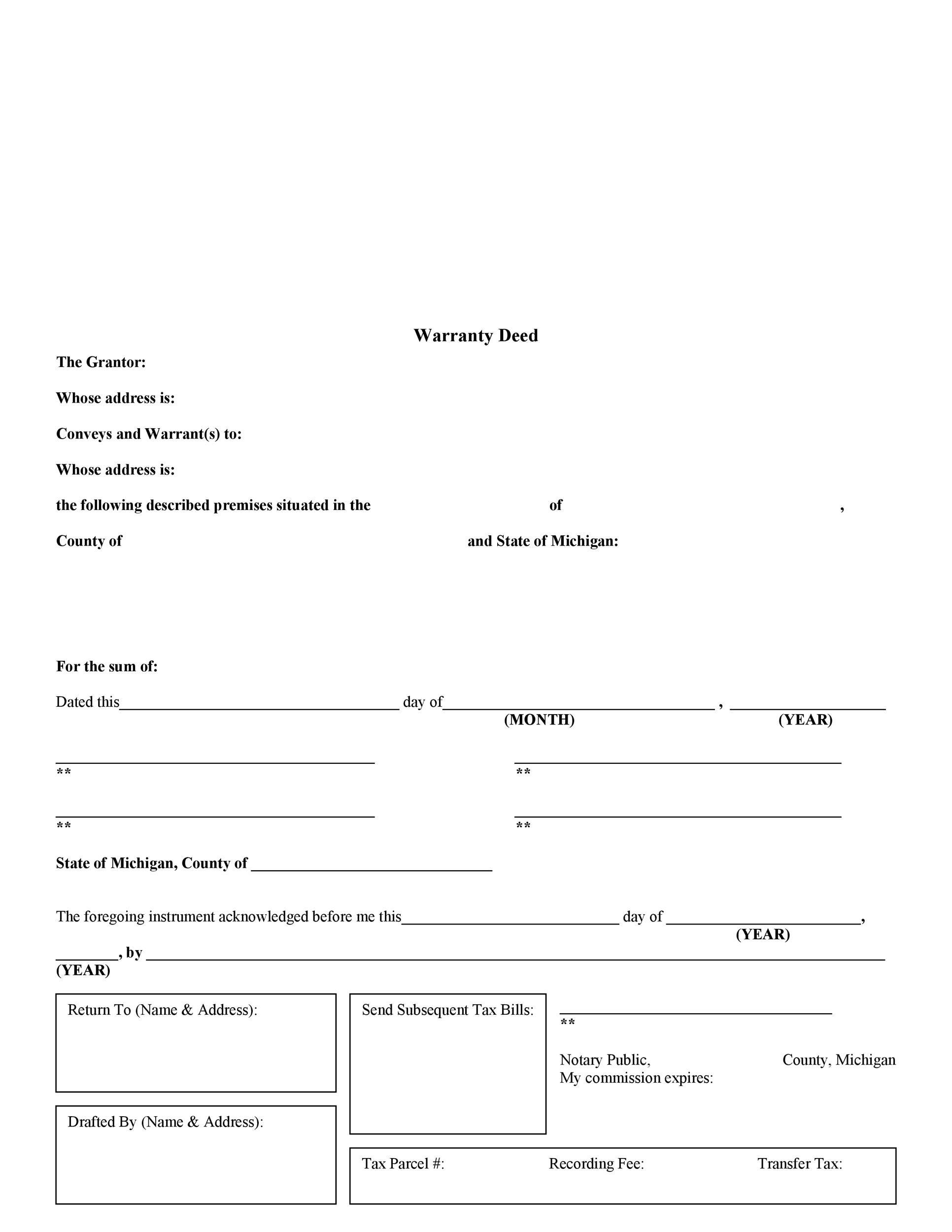 Free Warranty deed template 20