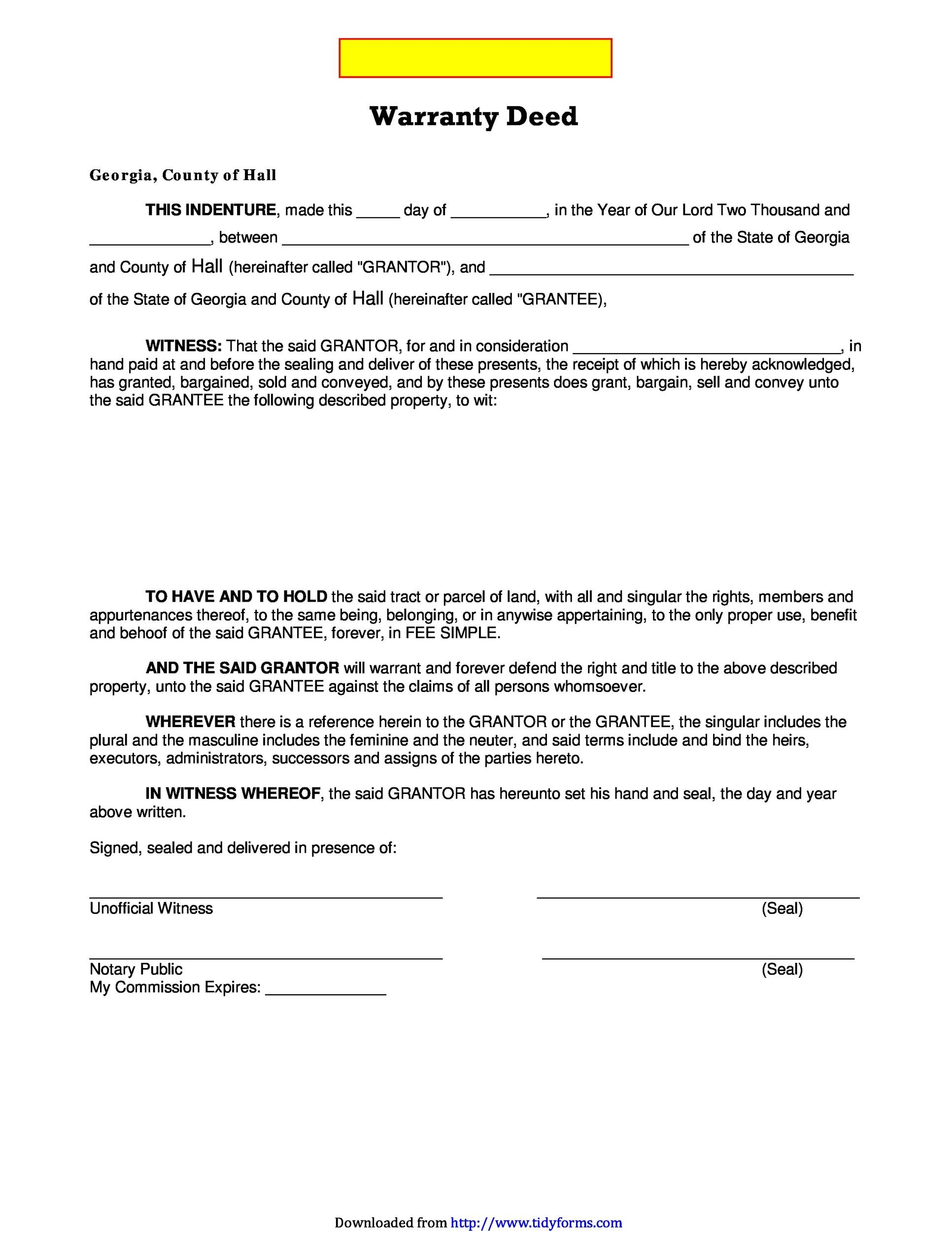 High Quality Printable Warranty Deed Template 22