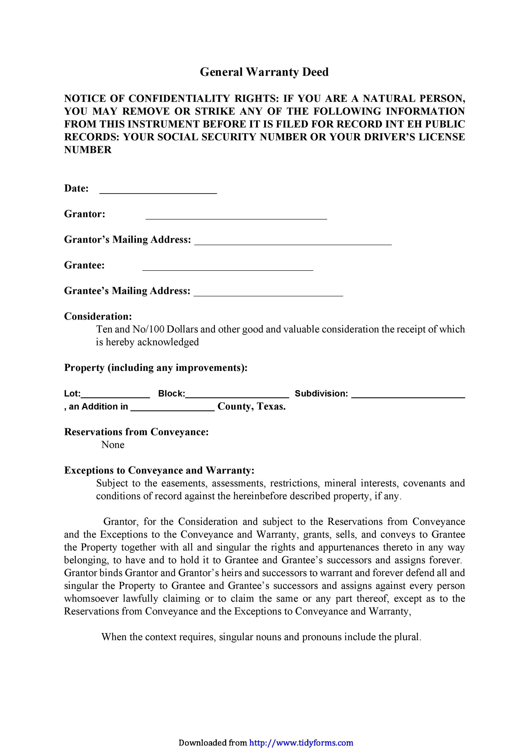 warranty deed form template - Teacheng.us