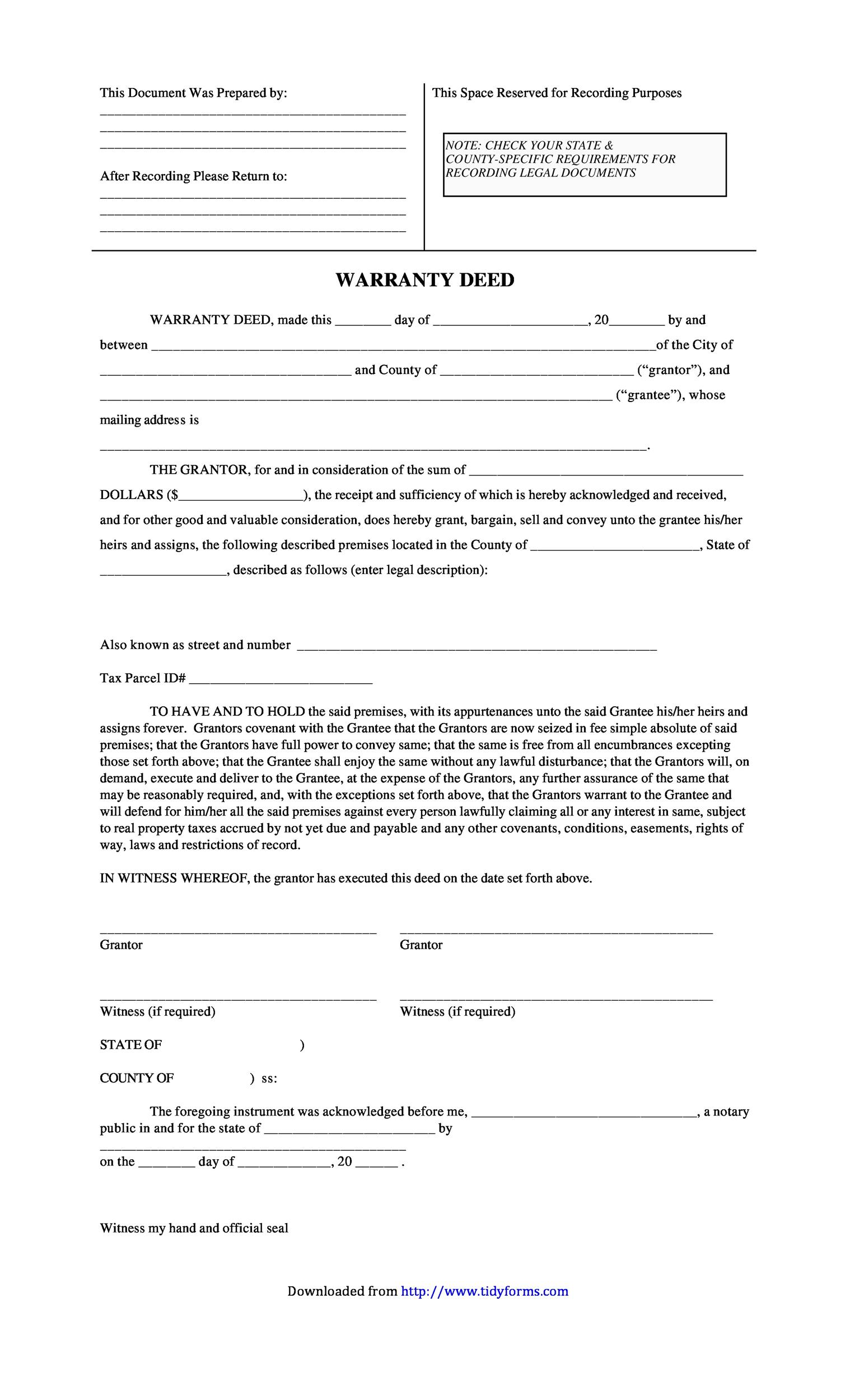 Free Warranty deed template 24