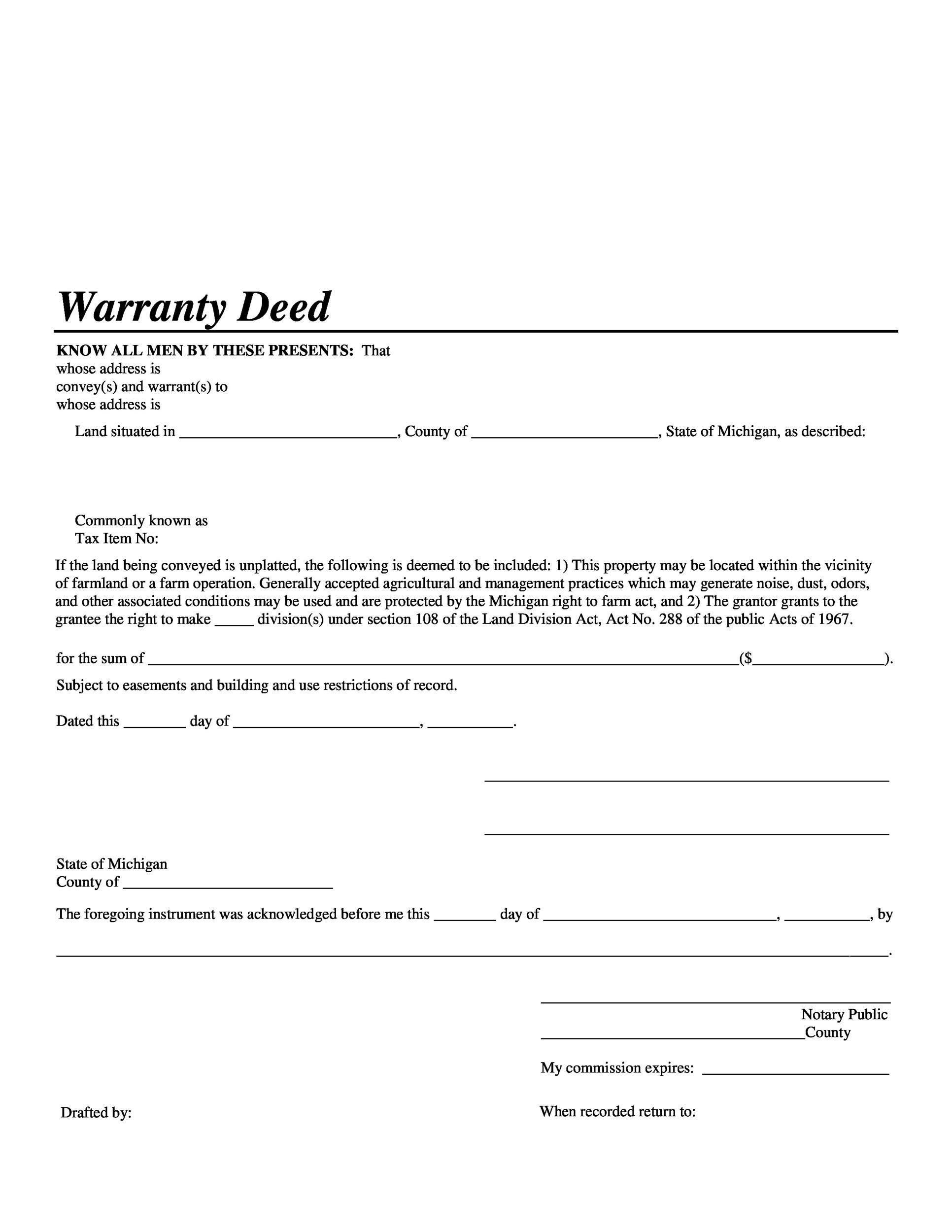 Free Warranty deed template 25