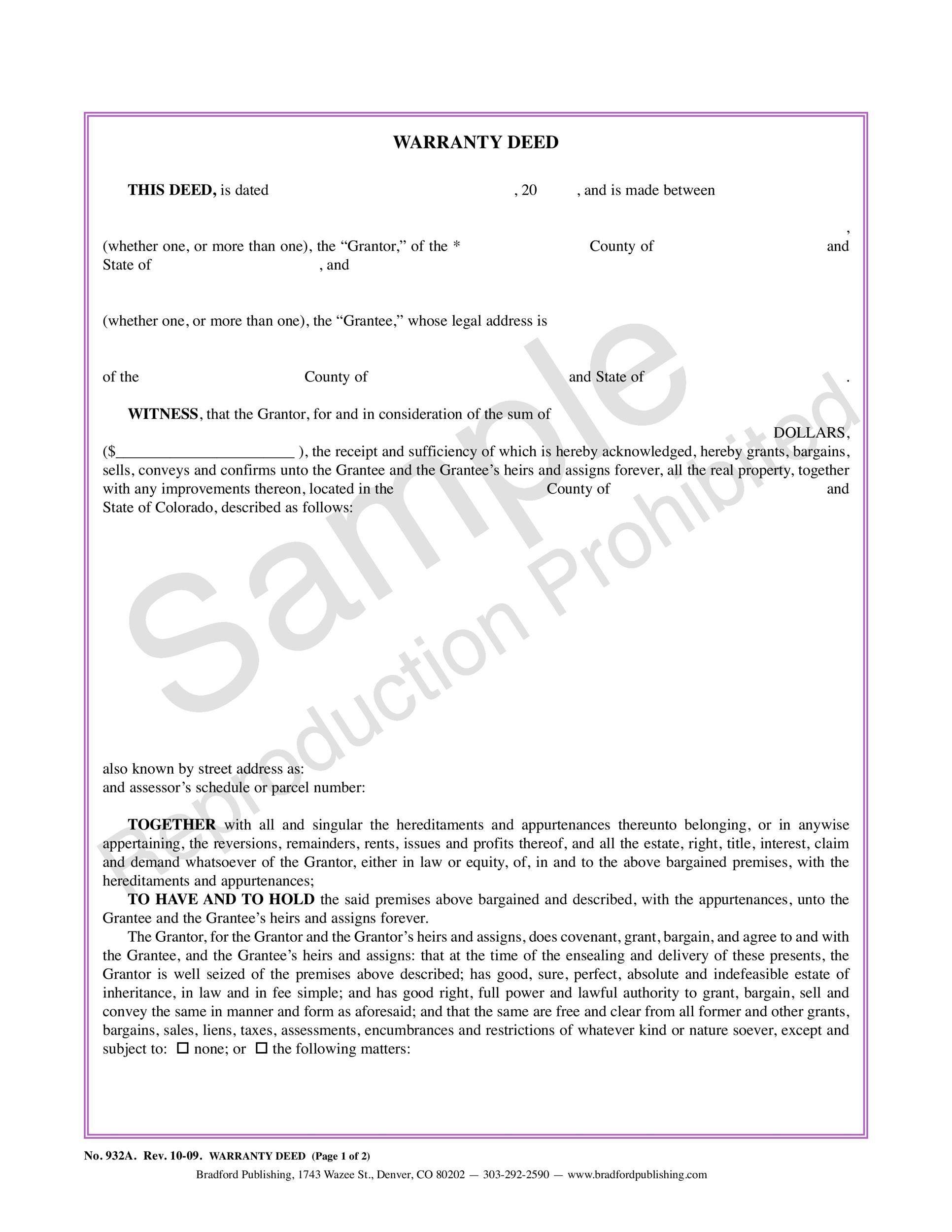 Free Warranty deed template 26