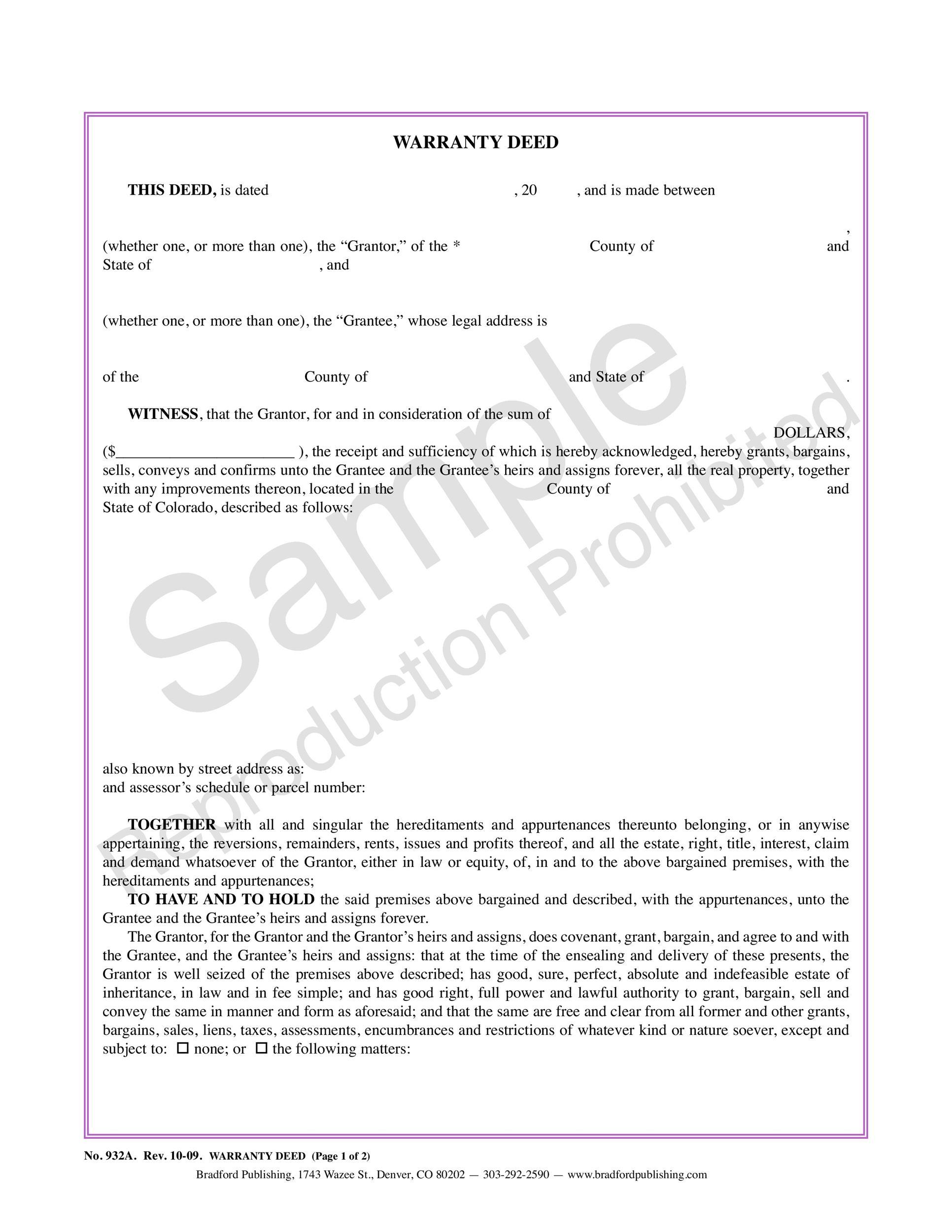 Free Warranty deed template 26
