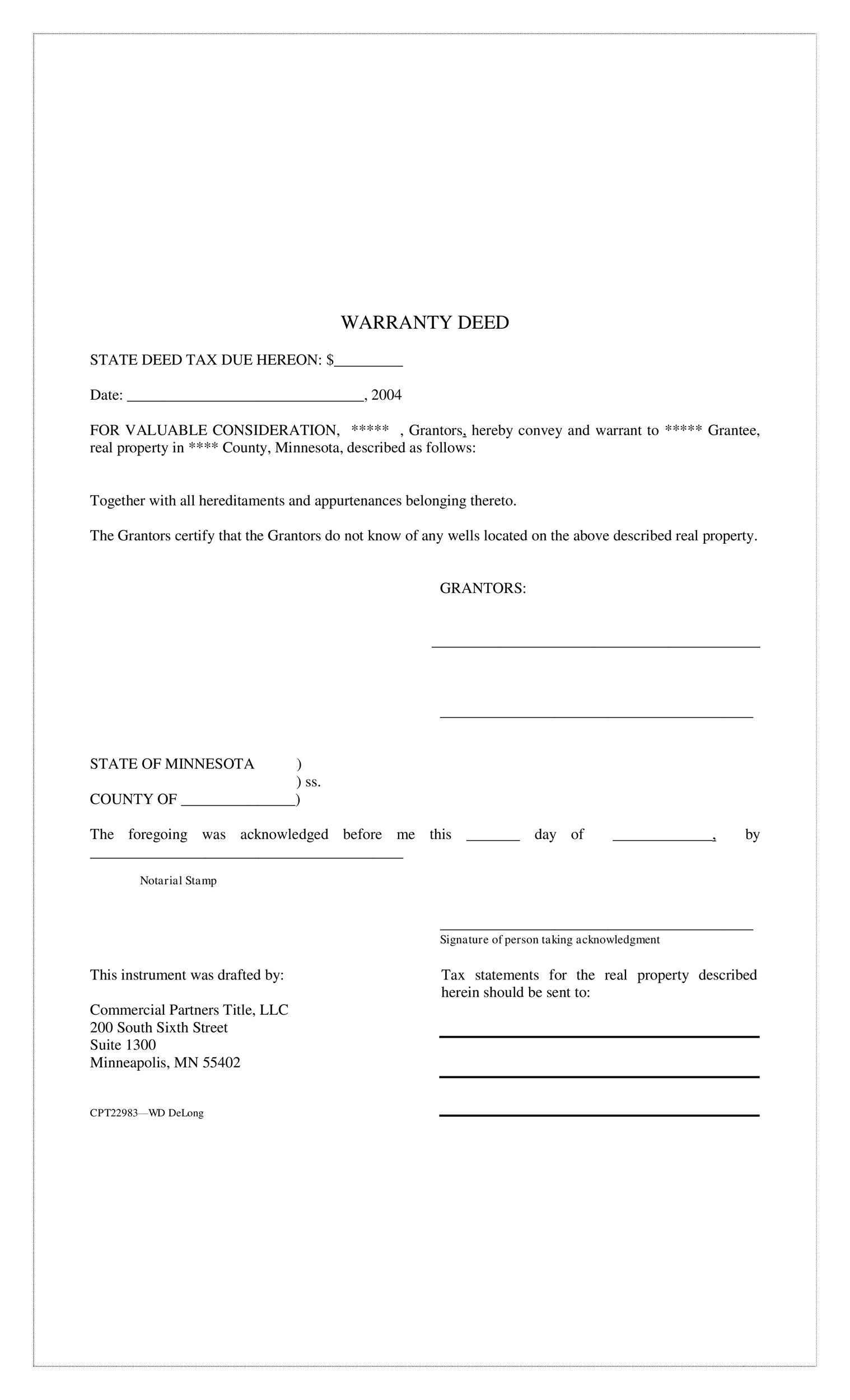 Free Warranty deed template 27
