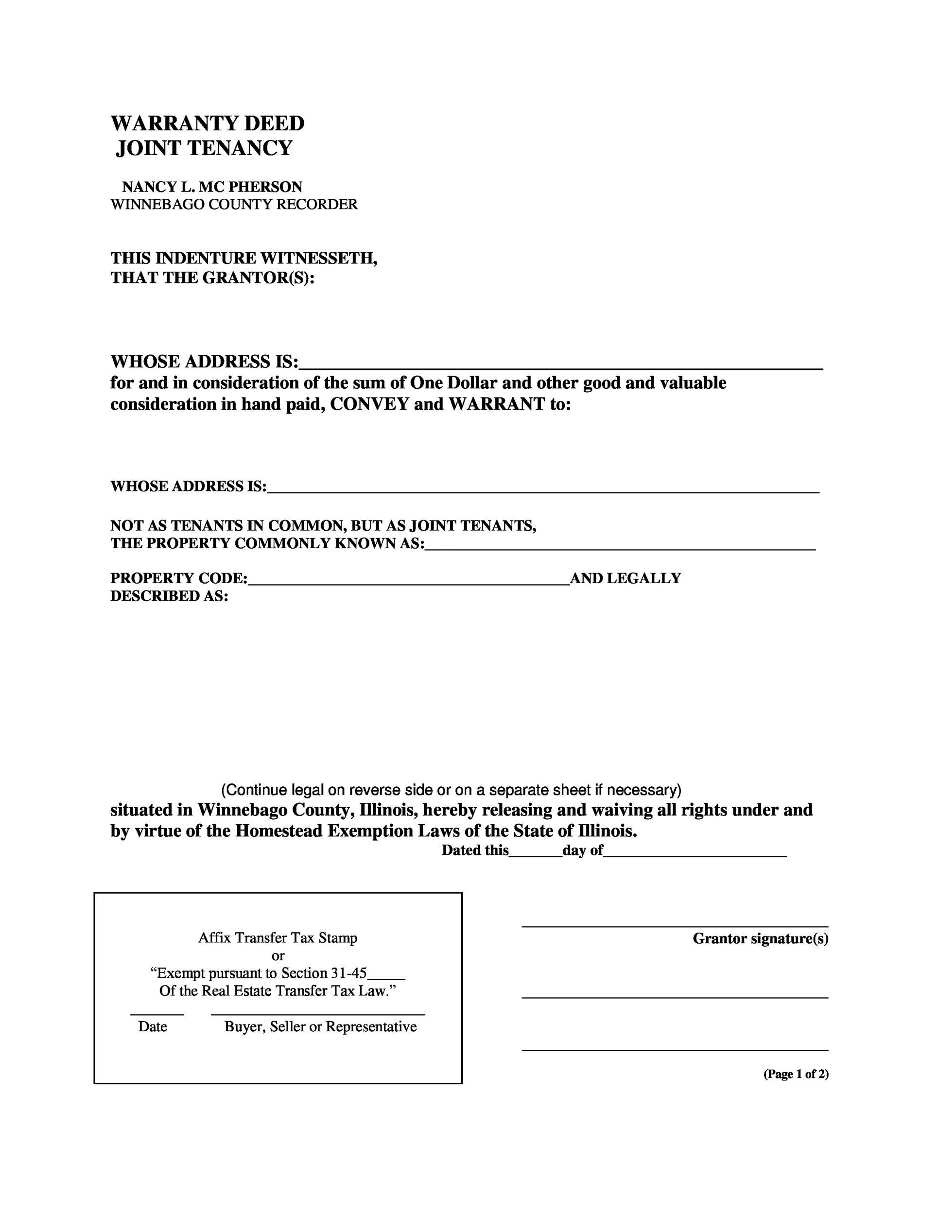 Free Warranty deed template 28