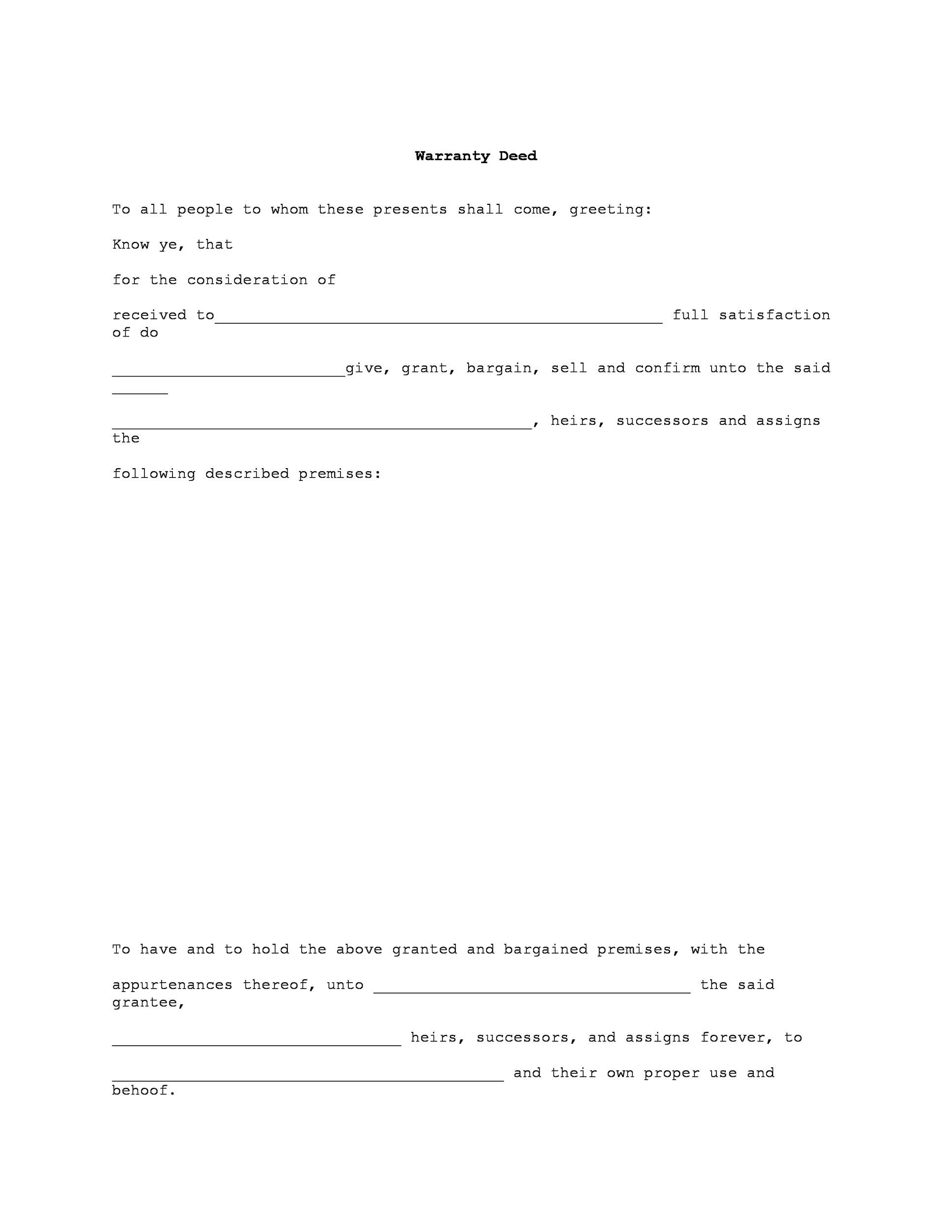 Free Warranty deed template 29