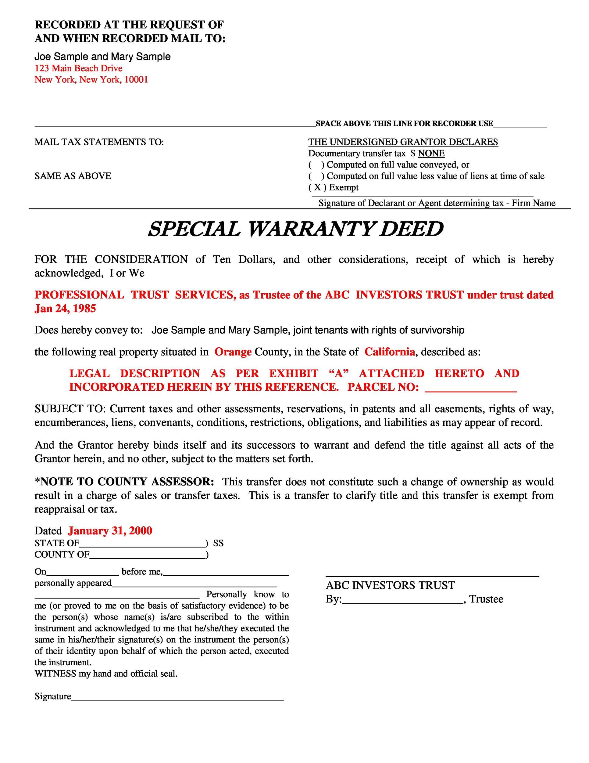 Free Warranty deed template 30
