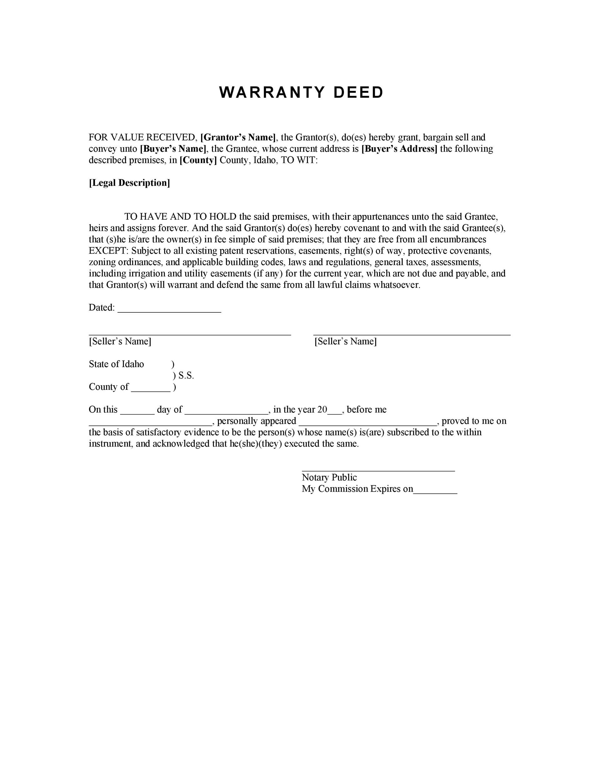 Free Warranty deed template 33