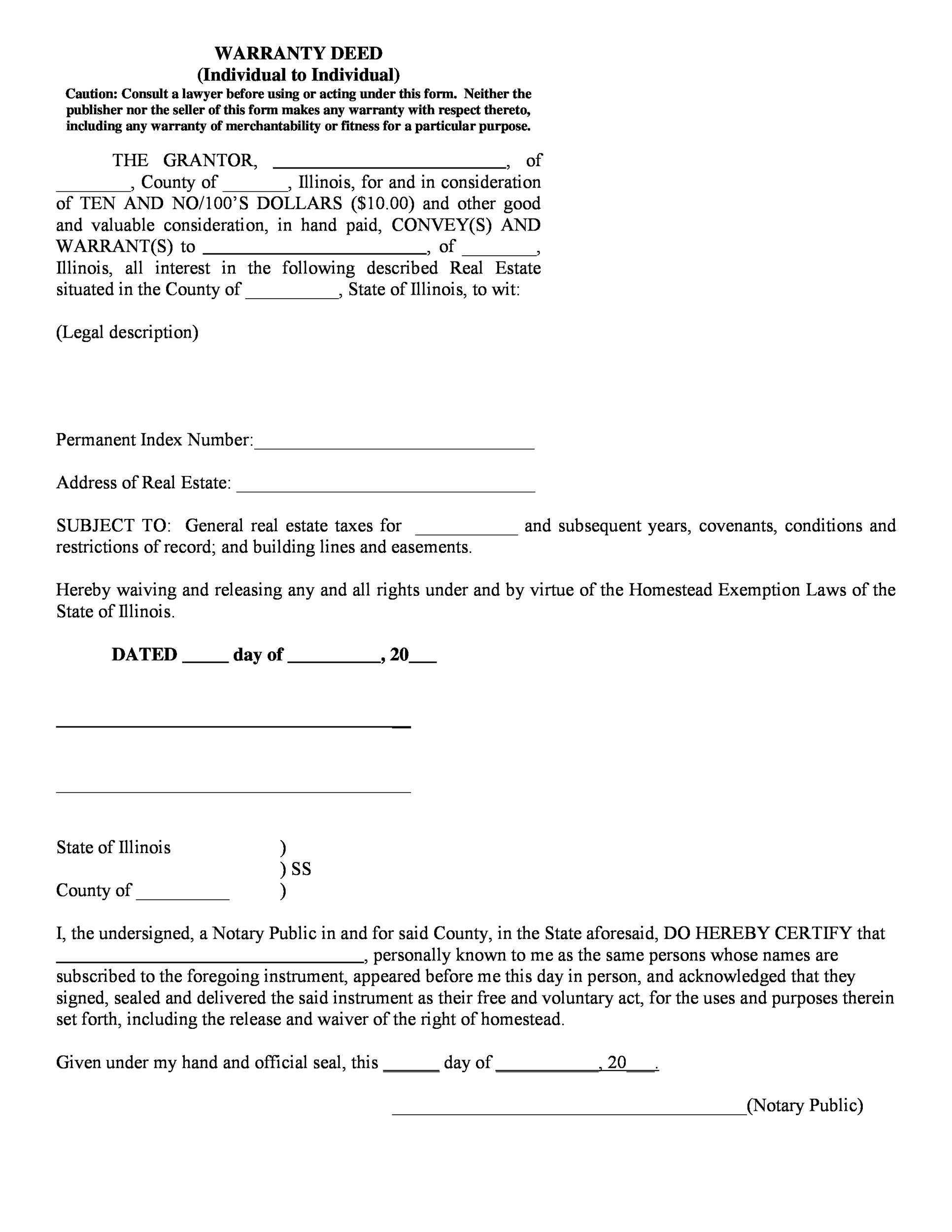 Free Warranty deed template 34