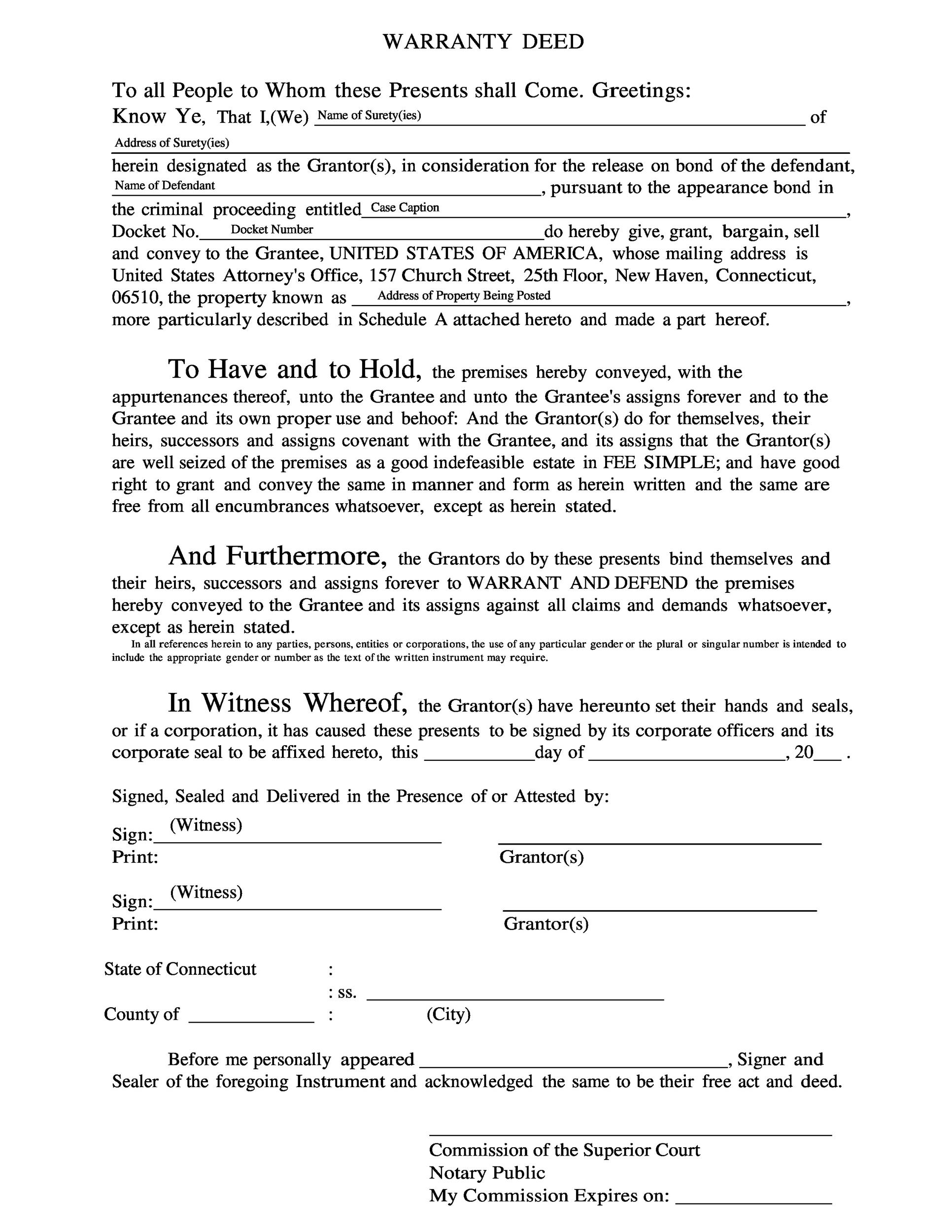 Free Warranty deed template 35
