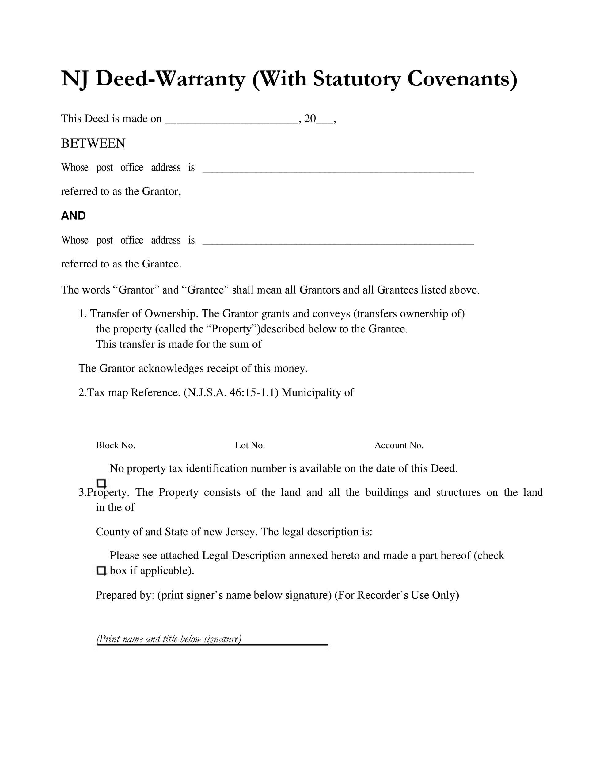 Free Warranty deed template 39
