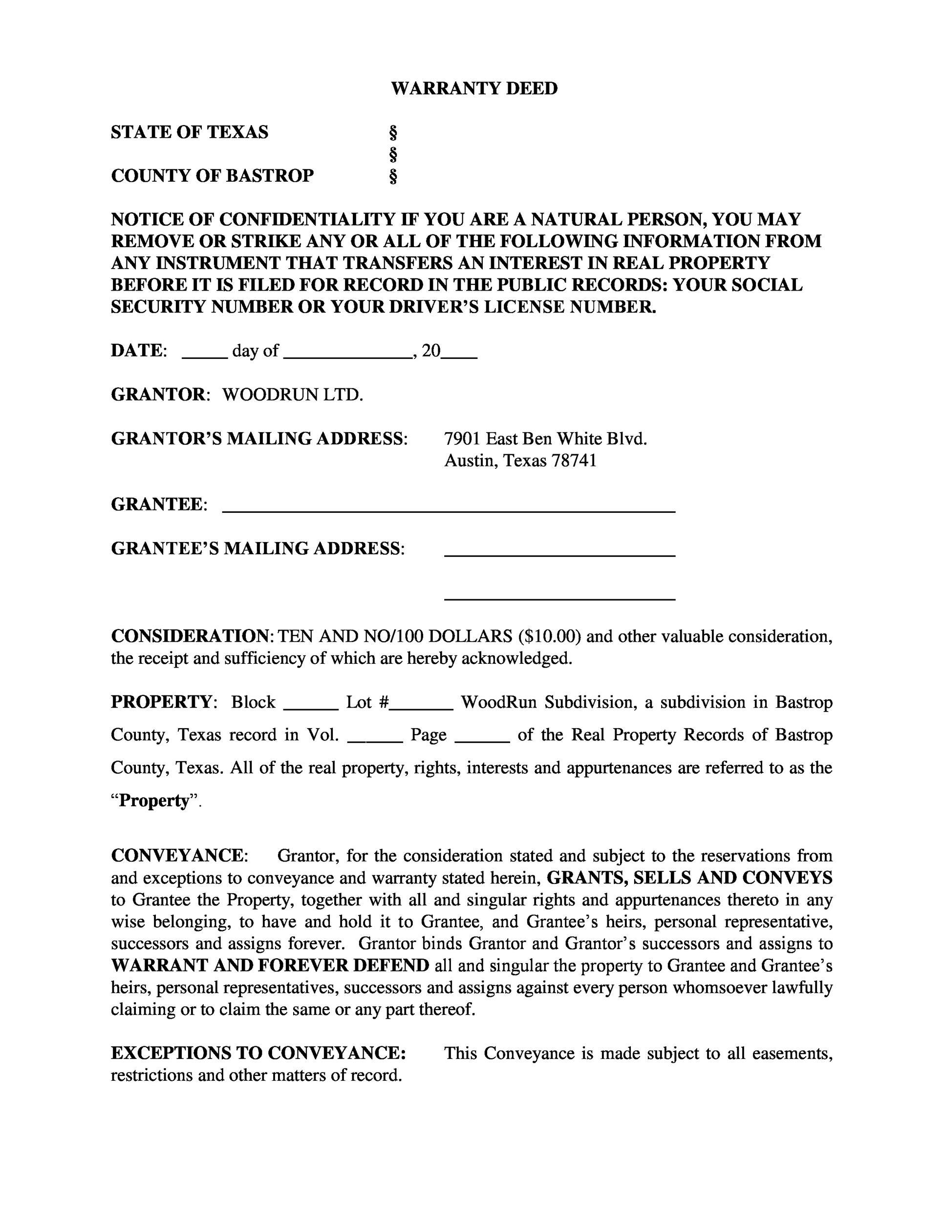 Free Warranty deed template 40