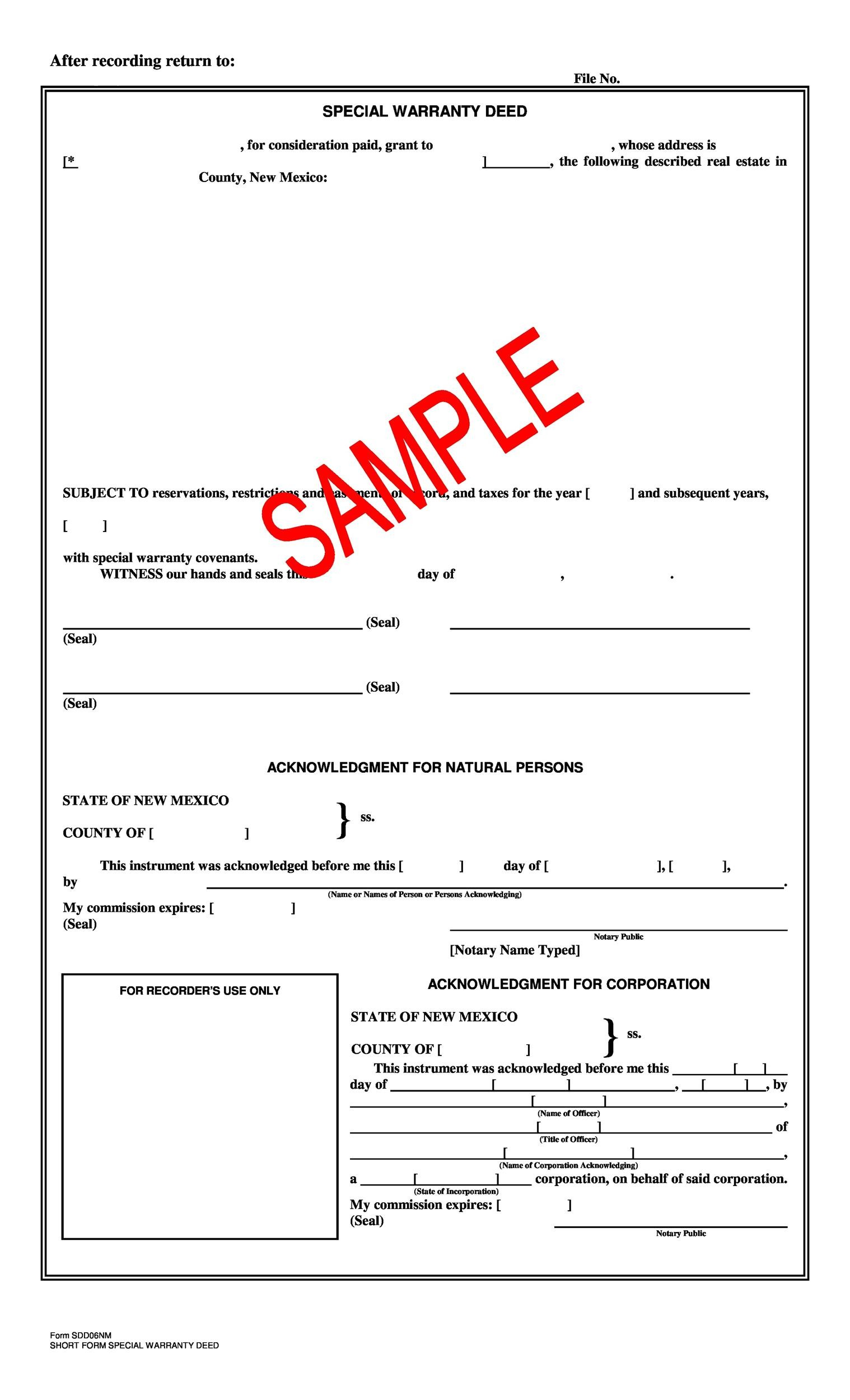 Free Warranty deed template 43