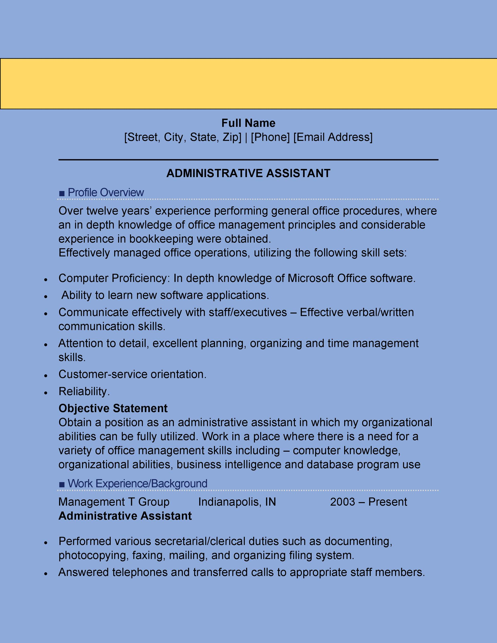 Printable Administrative Assistant Resume Template 02