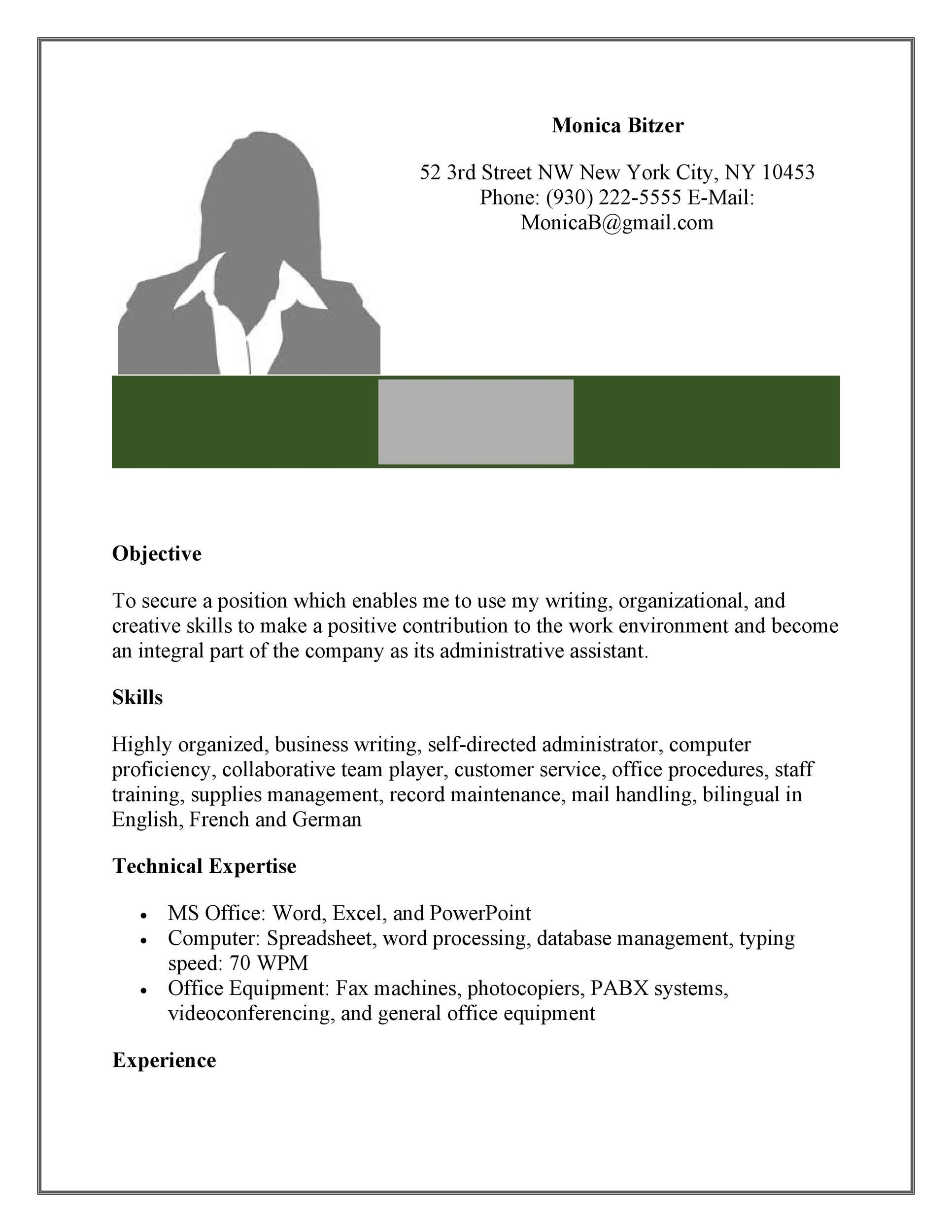 printable administrative assistant resume template 03 - Office Assistant Resume Templates