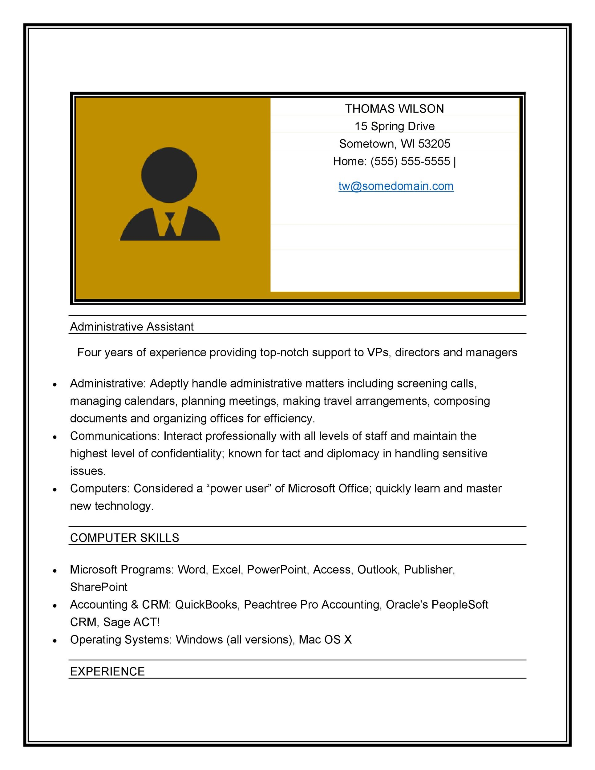 Free Administrative Assistant Resume Template 06