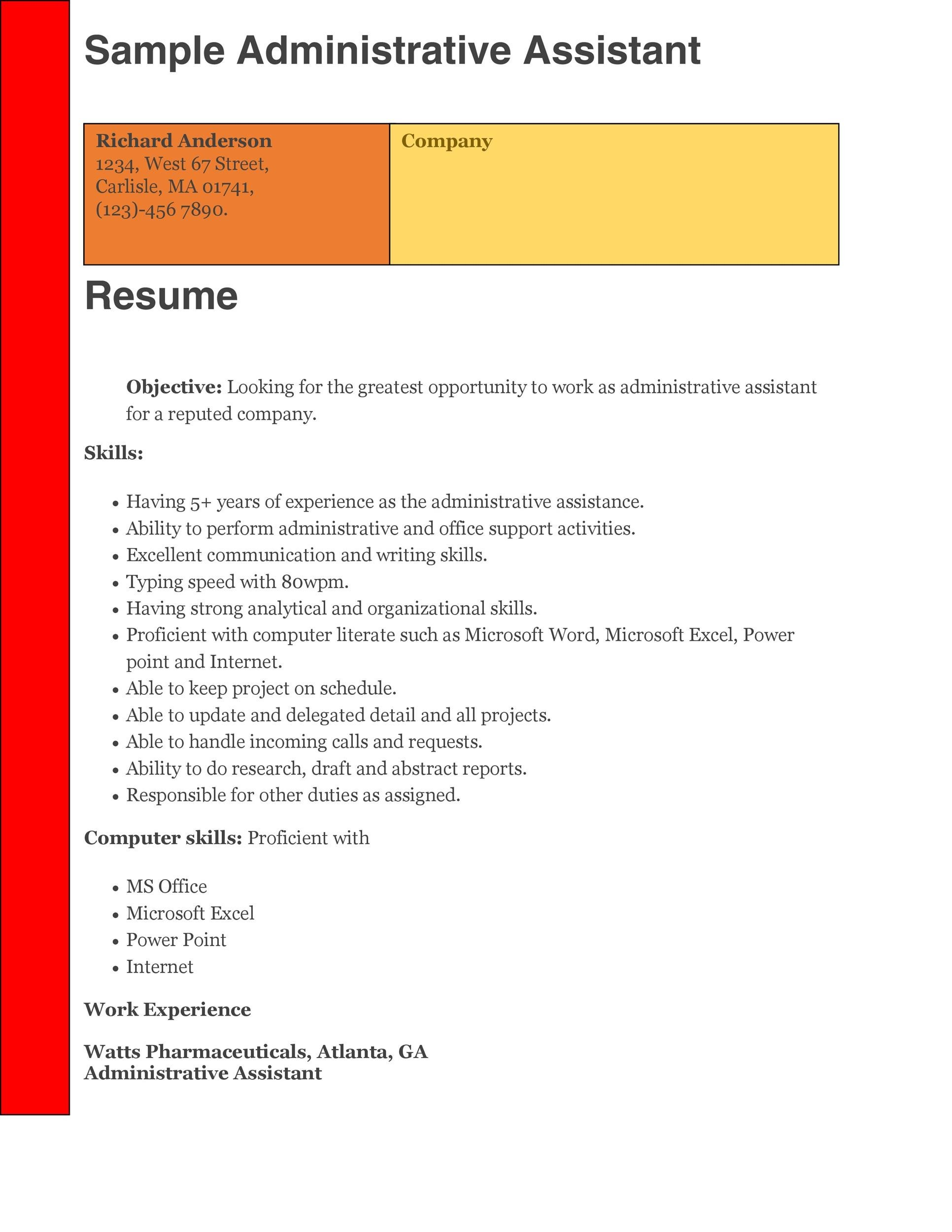 Printable Administrative Assistant Resume Template 10