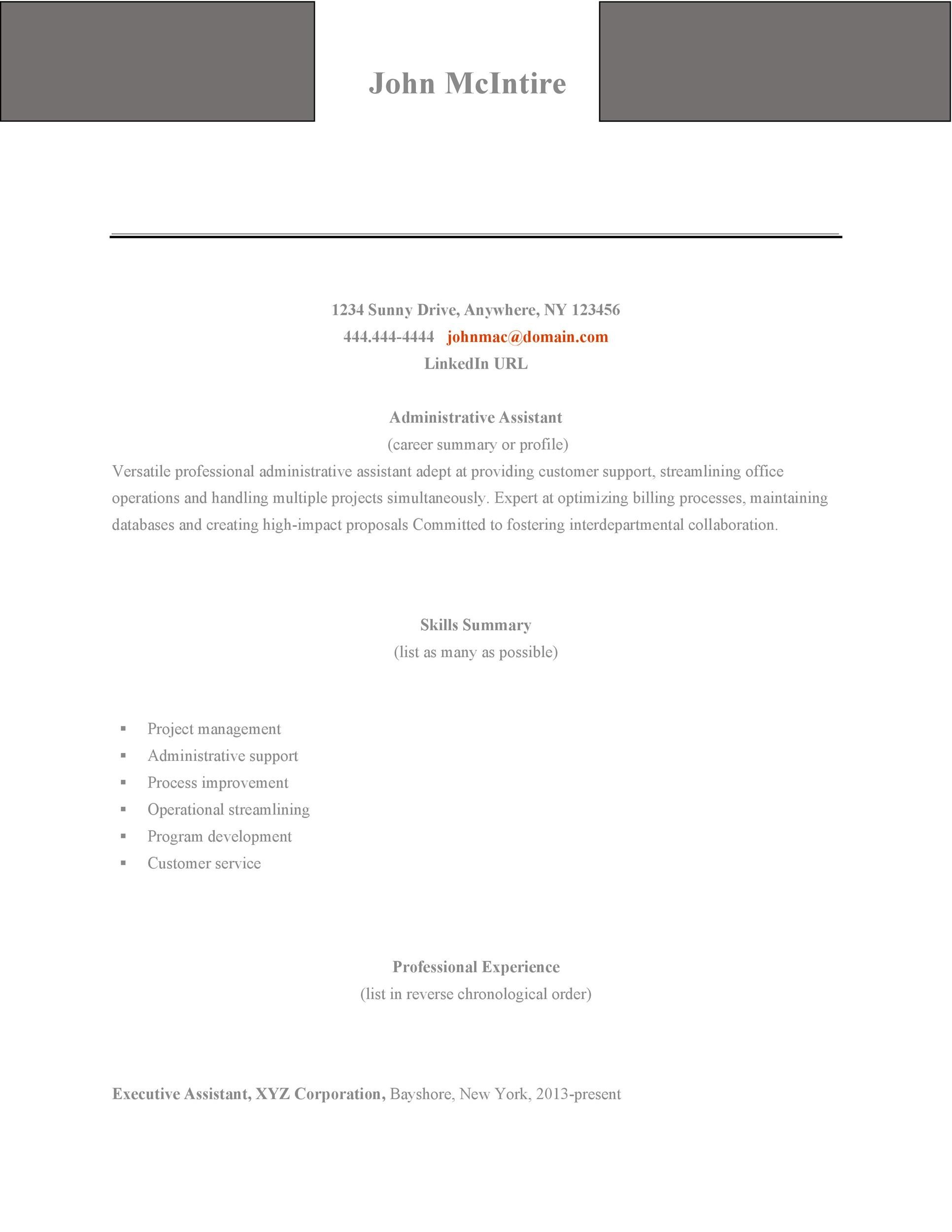 Free Administrative Assistant Resume Template 13