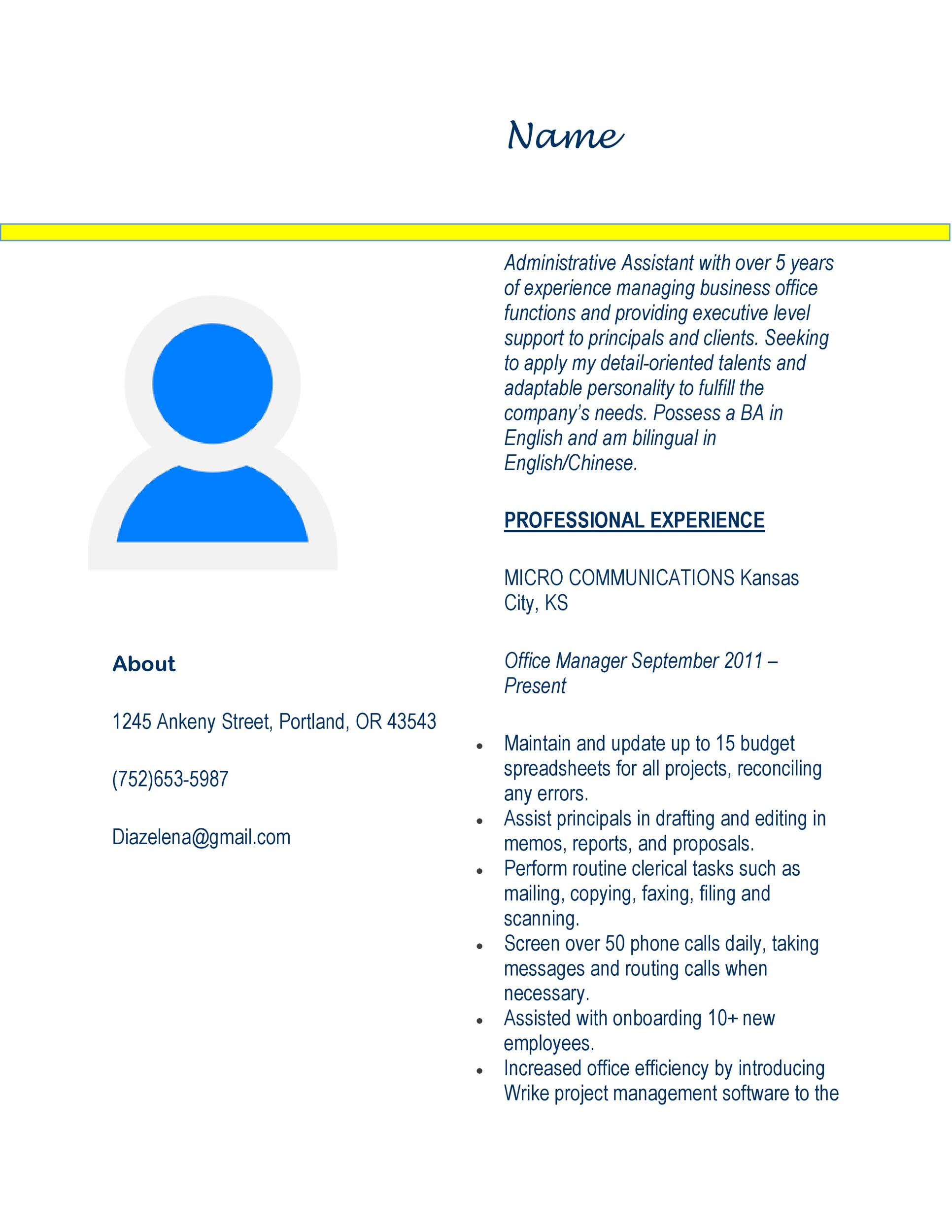 20 Free Administrative Assistant Resume Samples Á… Templatelab