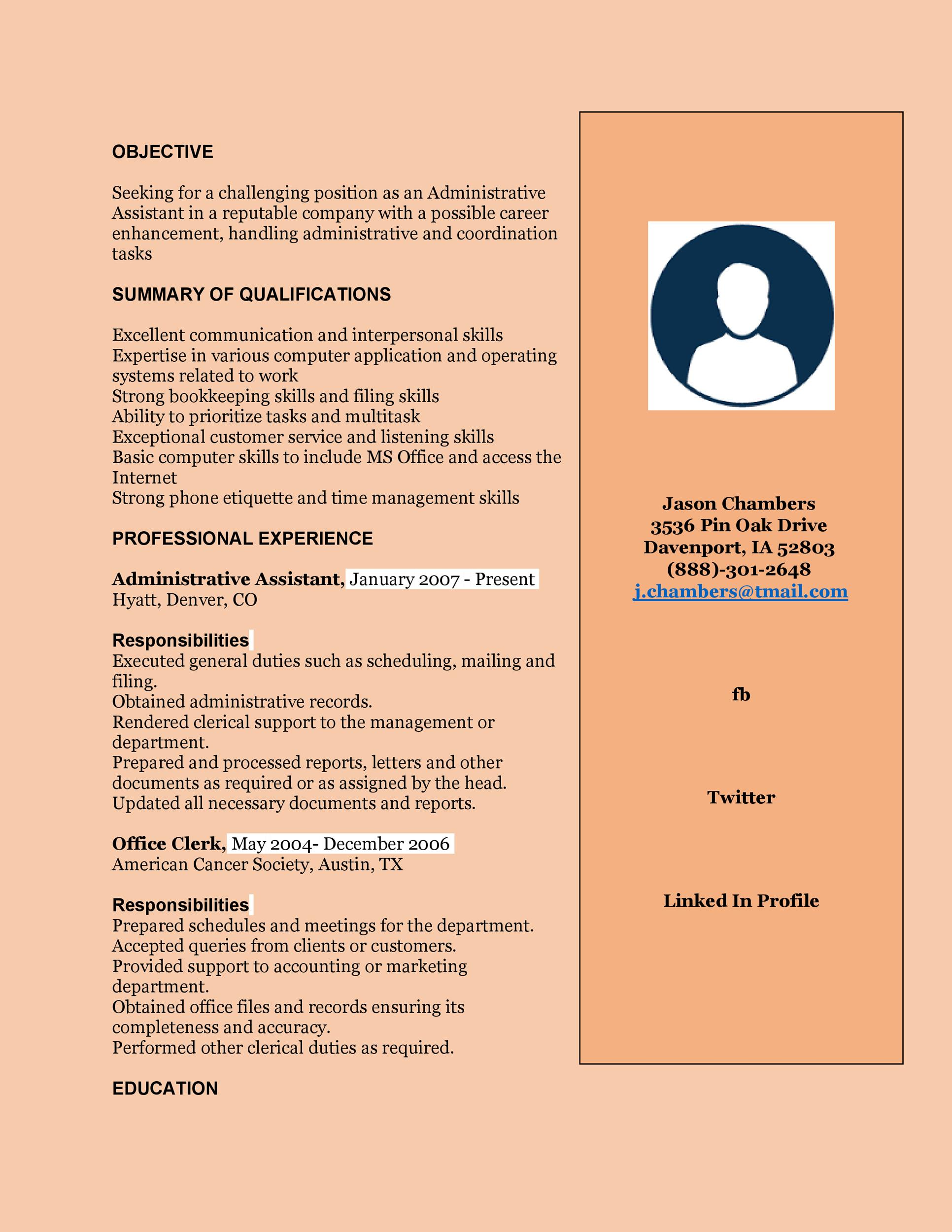 Free Administrative Assistant Resume Template 16