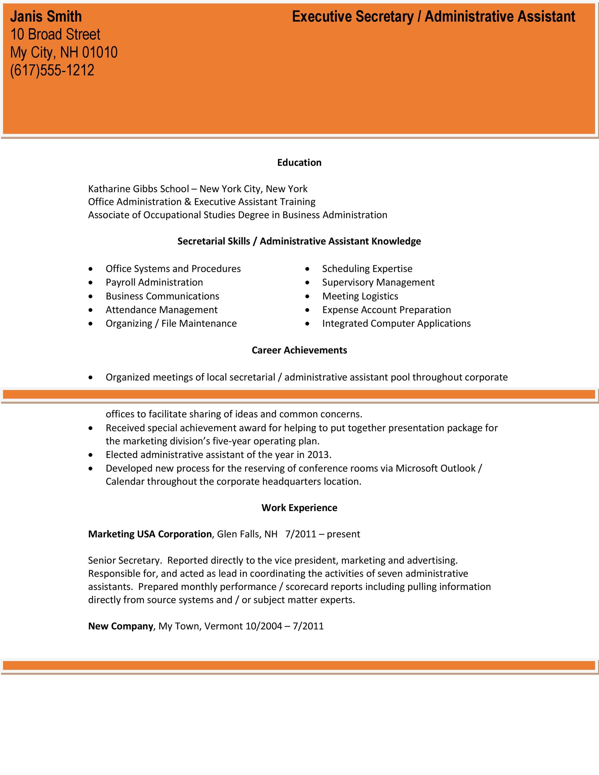 Administrative Assistant Resume Template 18 Template