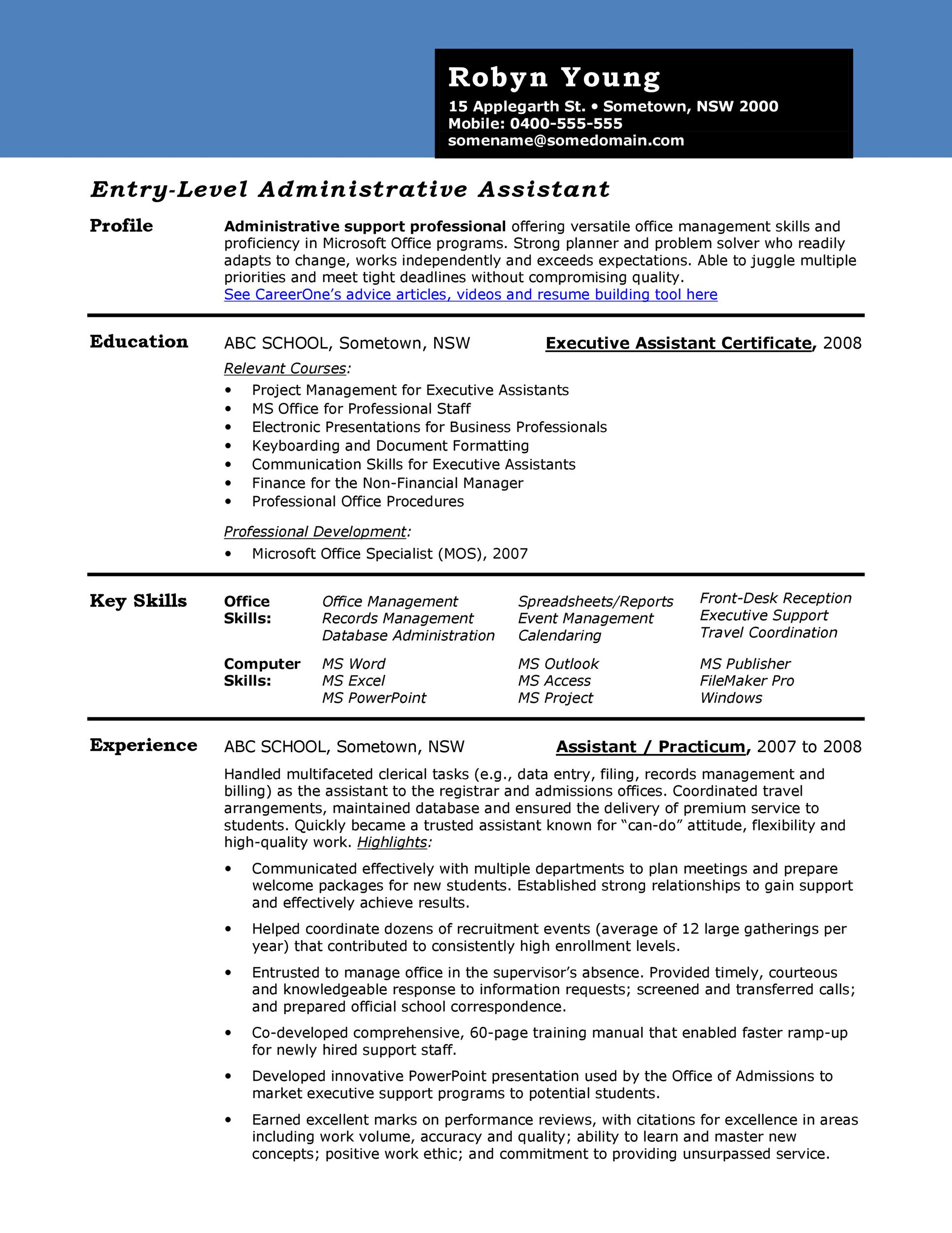 20 Free Administrative Assistant Resume Samples Template Lab
