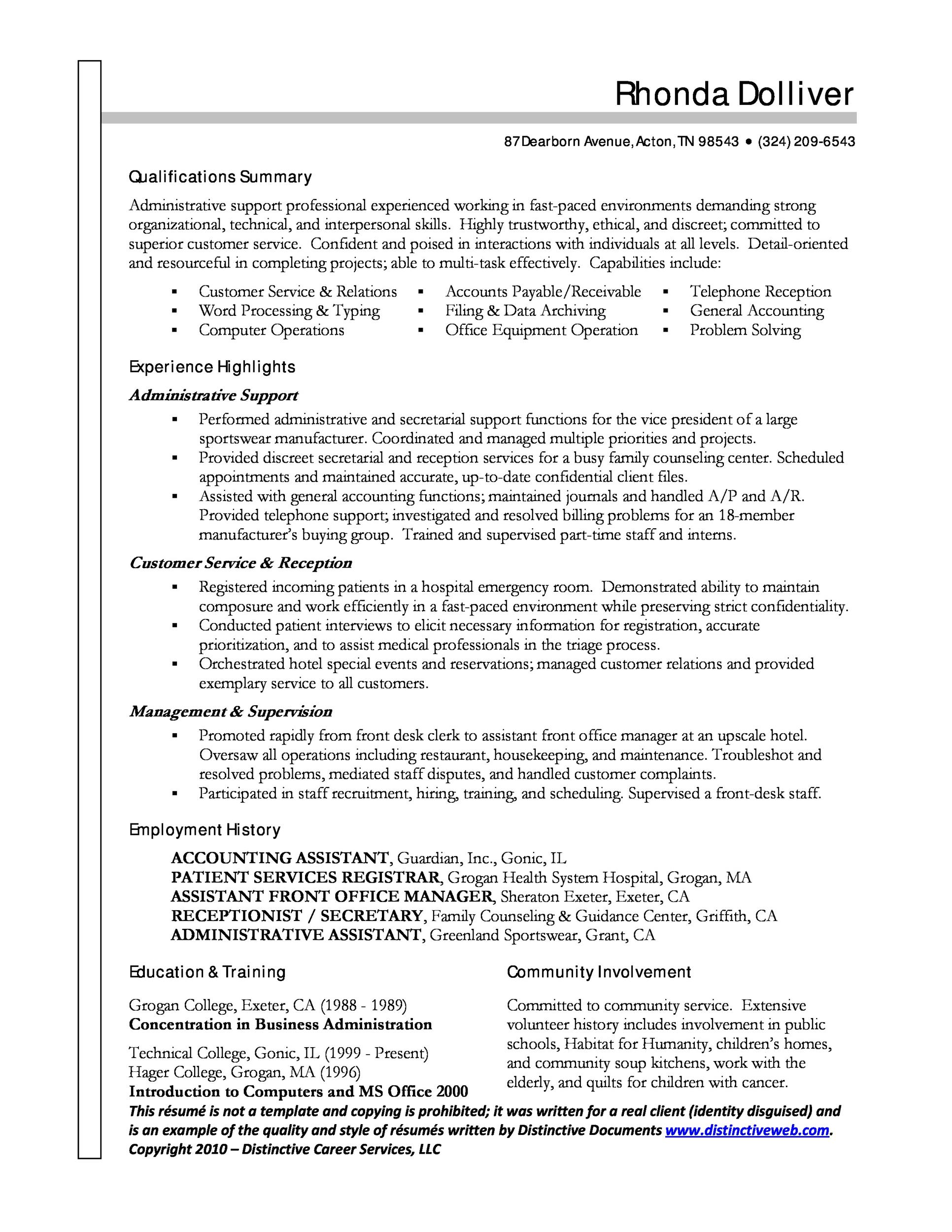 20  free administrative assistant resume samples  u1405 template lab