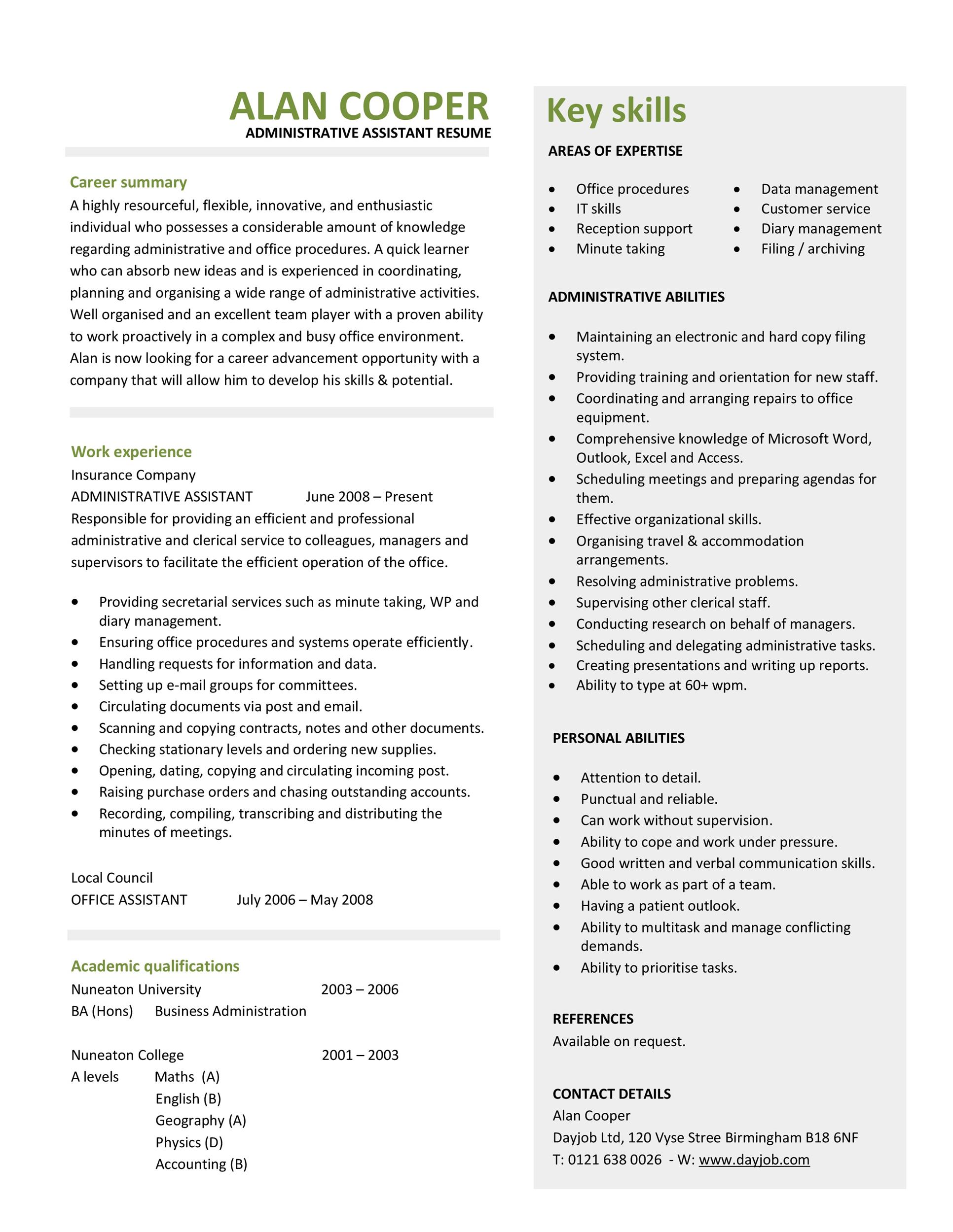 20  free administrative assistant resume samples  u1405