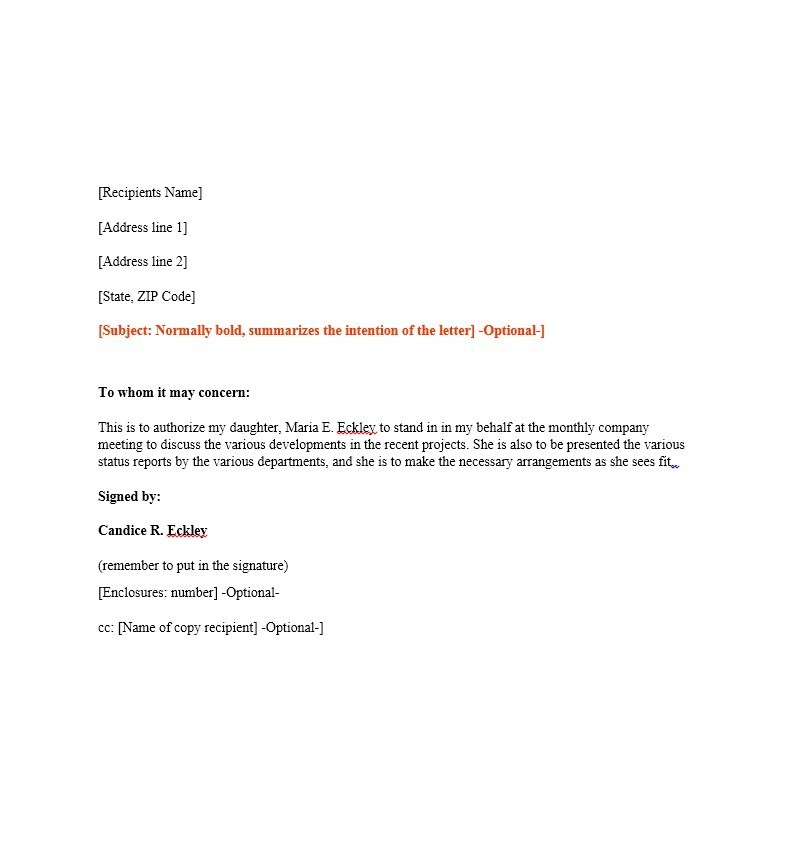 Authorization Letter Sample  Letters  Mapsauthorization Letter