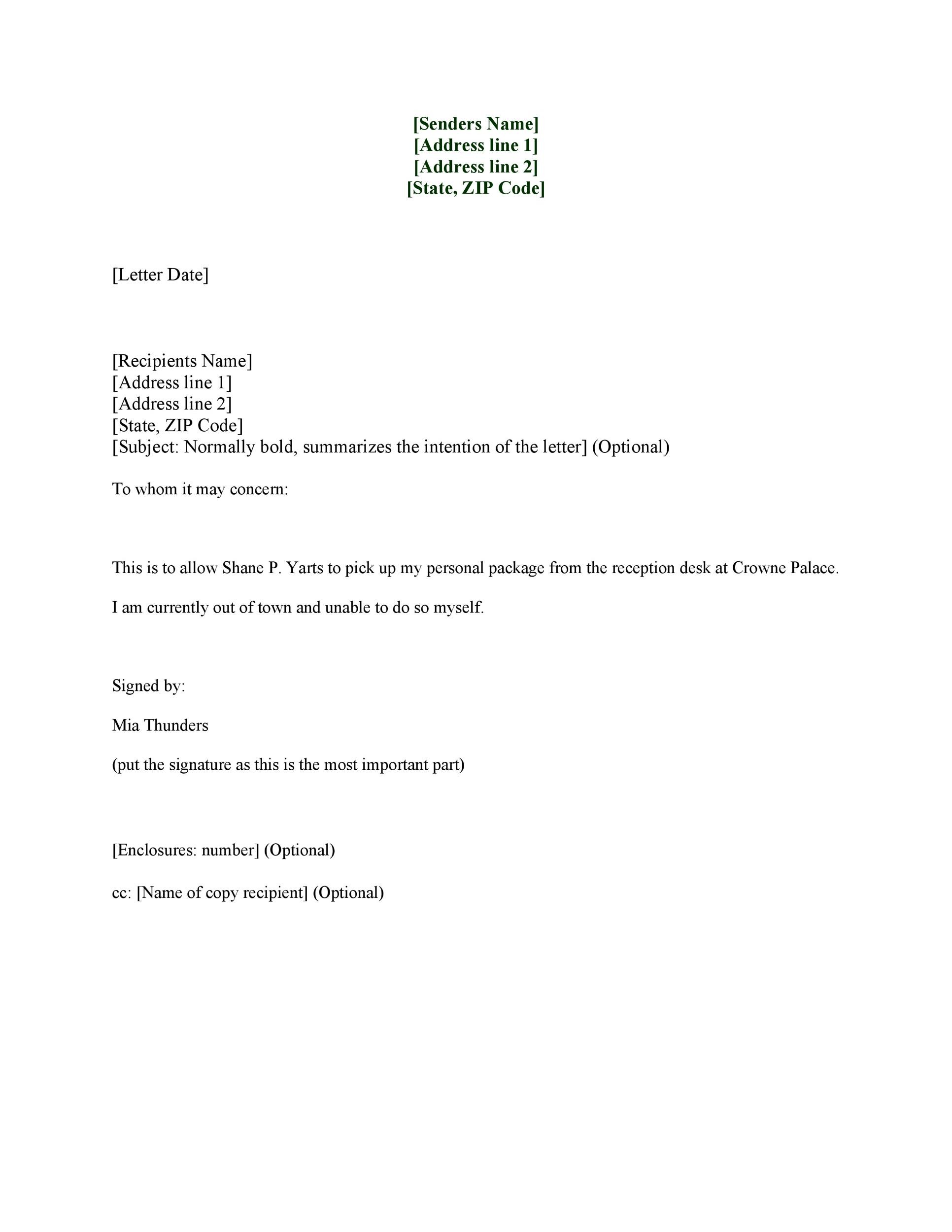 Sample Letter Of Authorization To Sign On Behalf