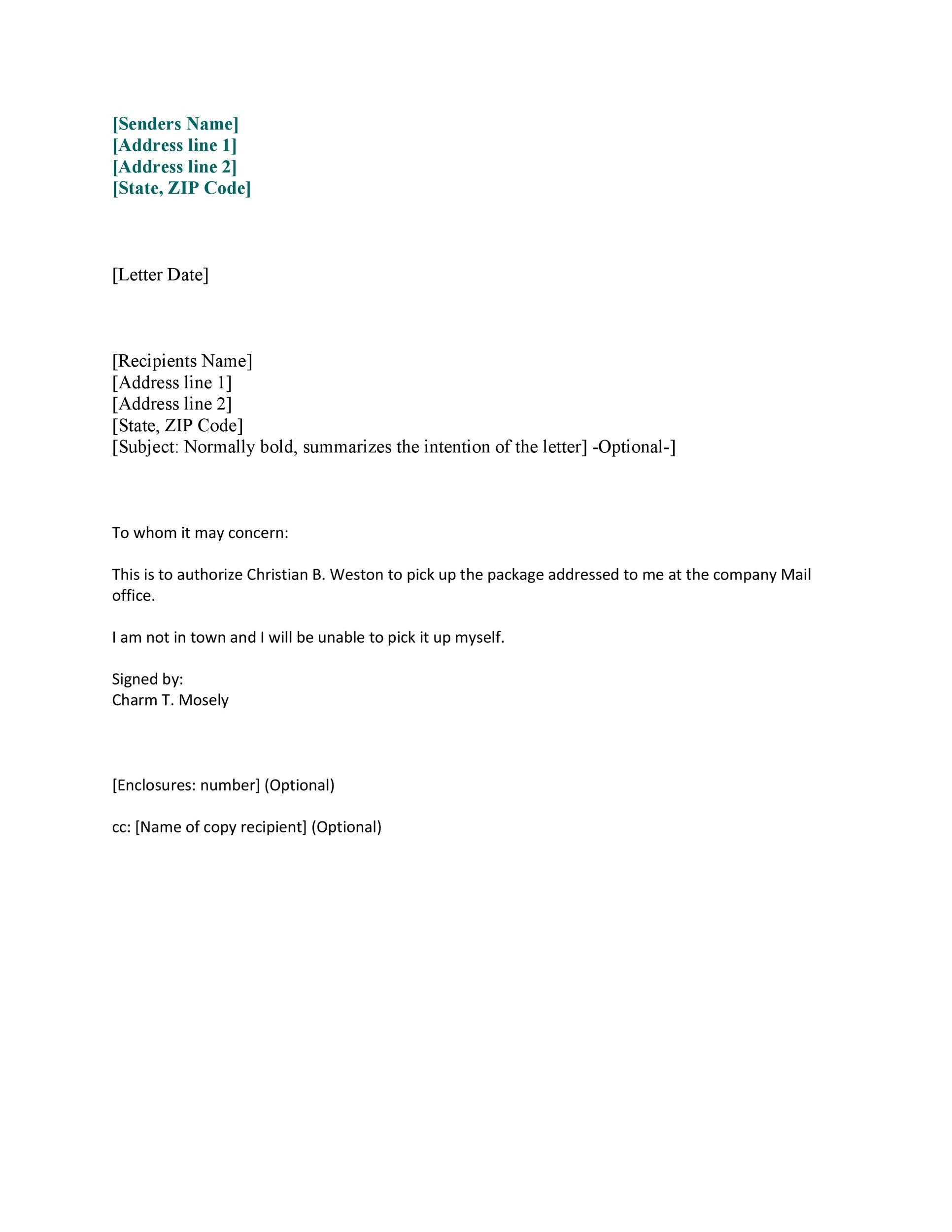 Authorization Letter Letter Of Authorization Free Word Pdf