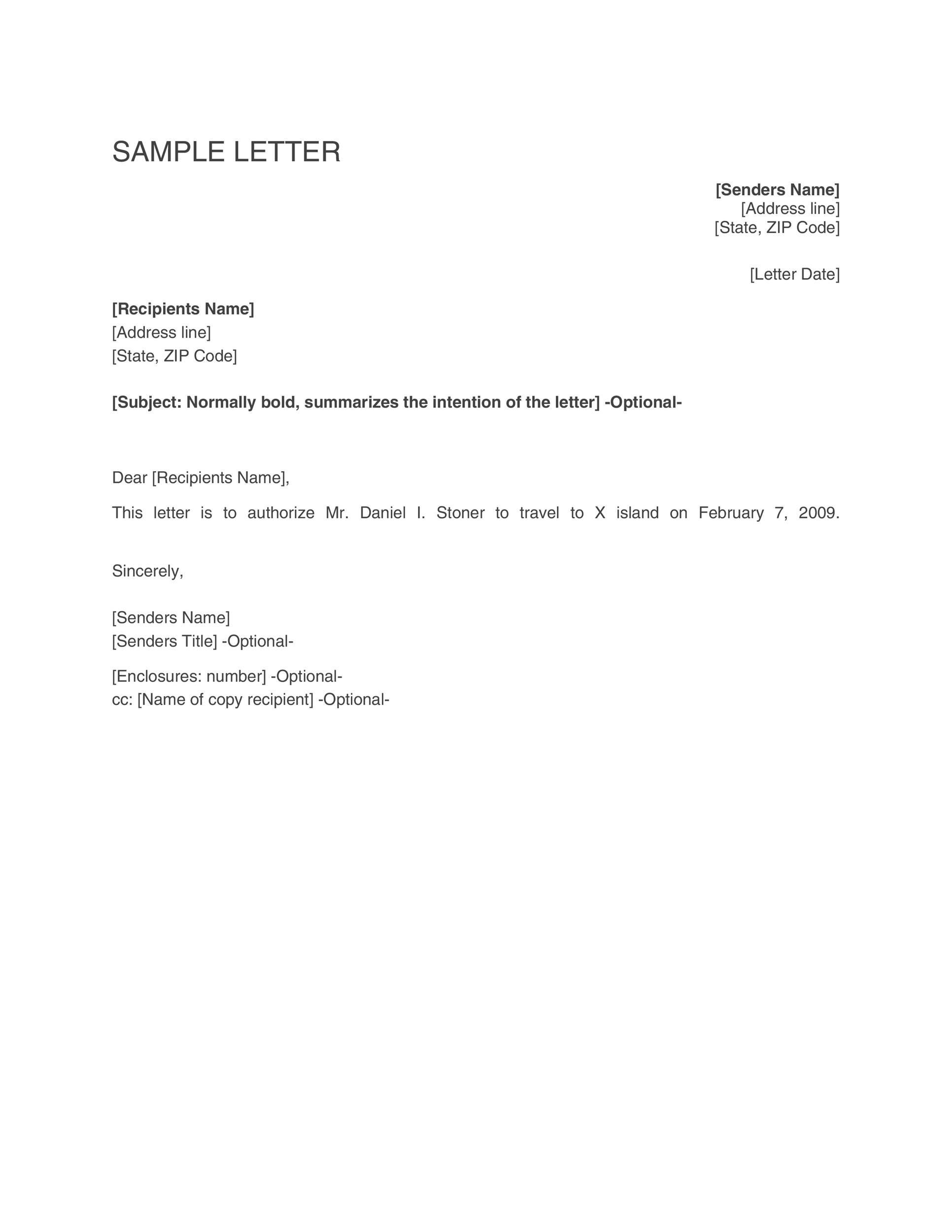 permission to travel letters