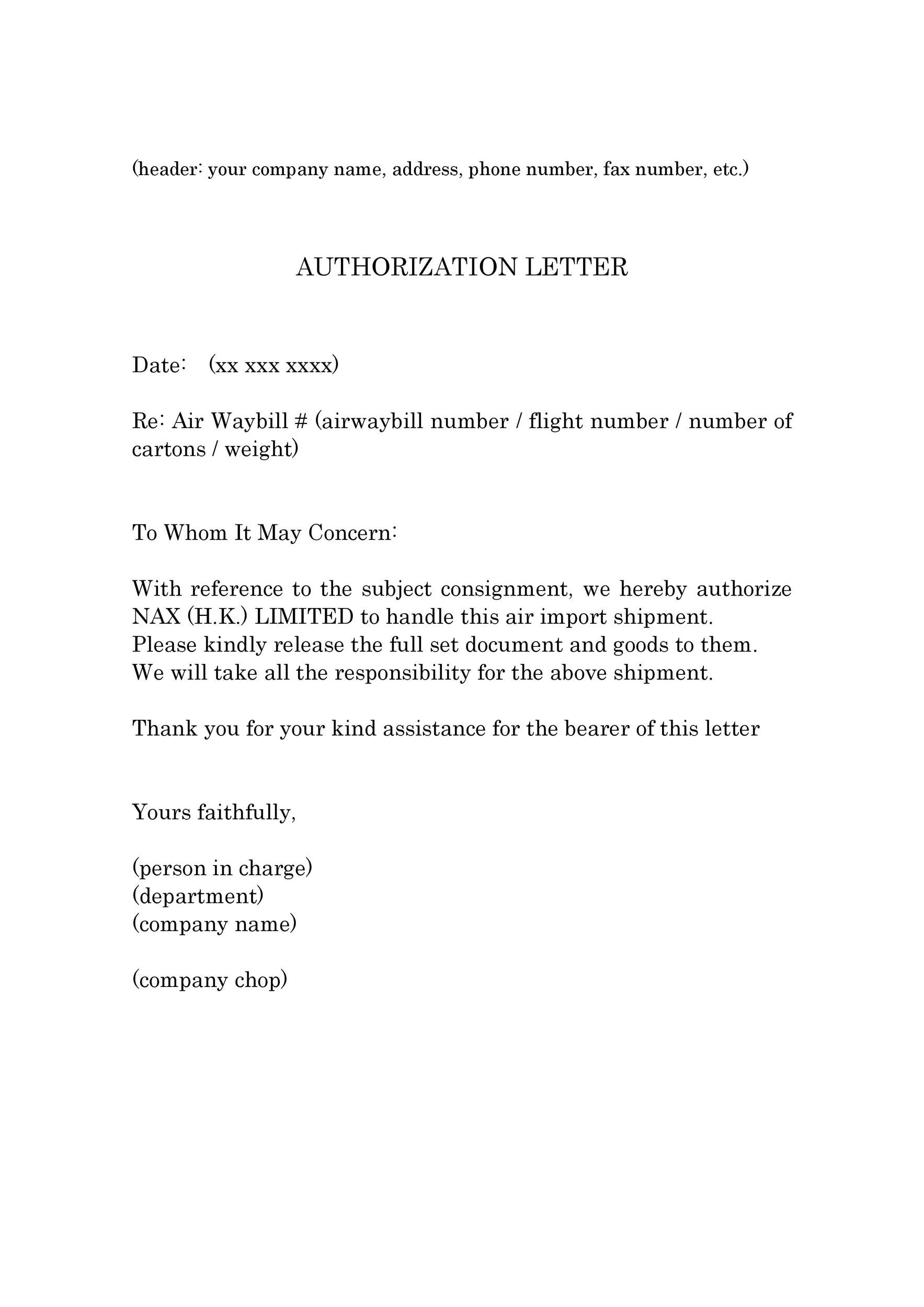 Authorization Letters Authorization Letter Authorization Letter