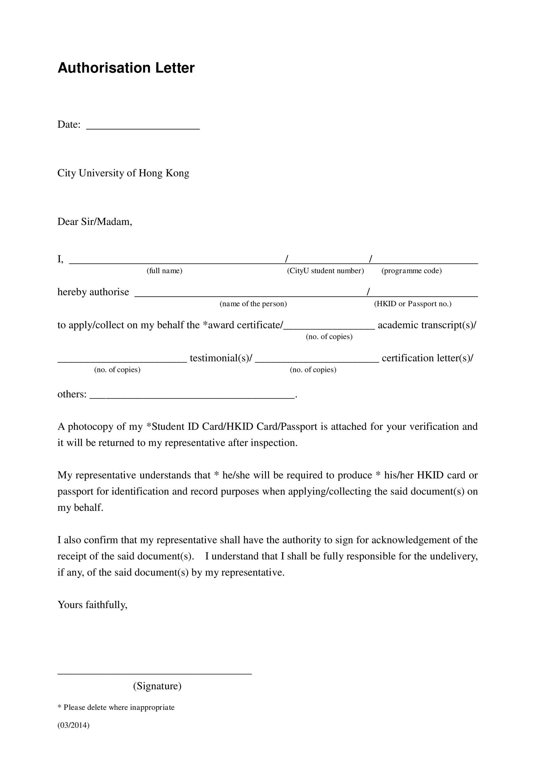 Free Authorization Letter 38