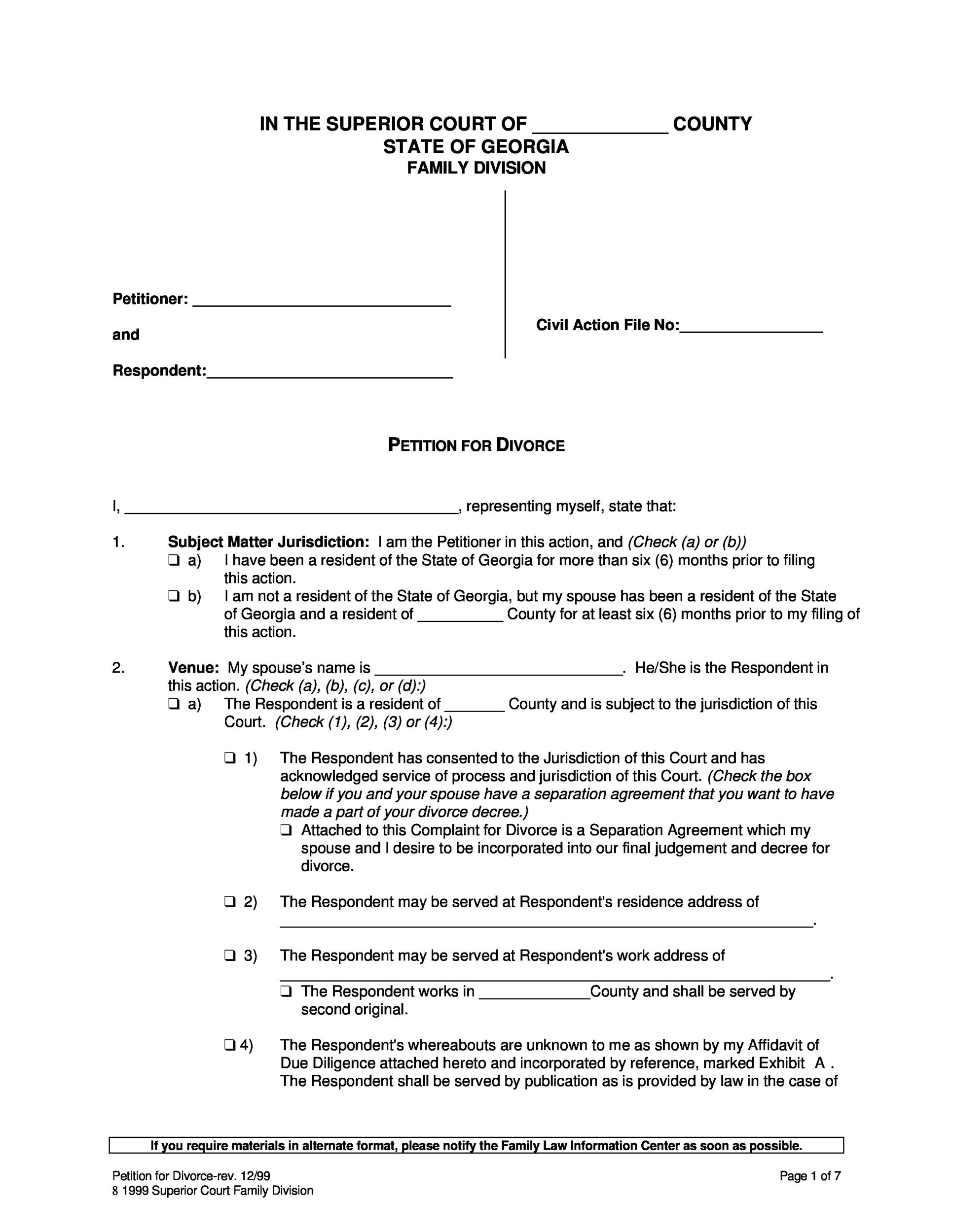 40 Free Divorce Papers Printable Template Lab – Sample Divorce Agreement