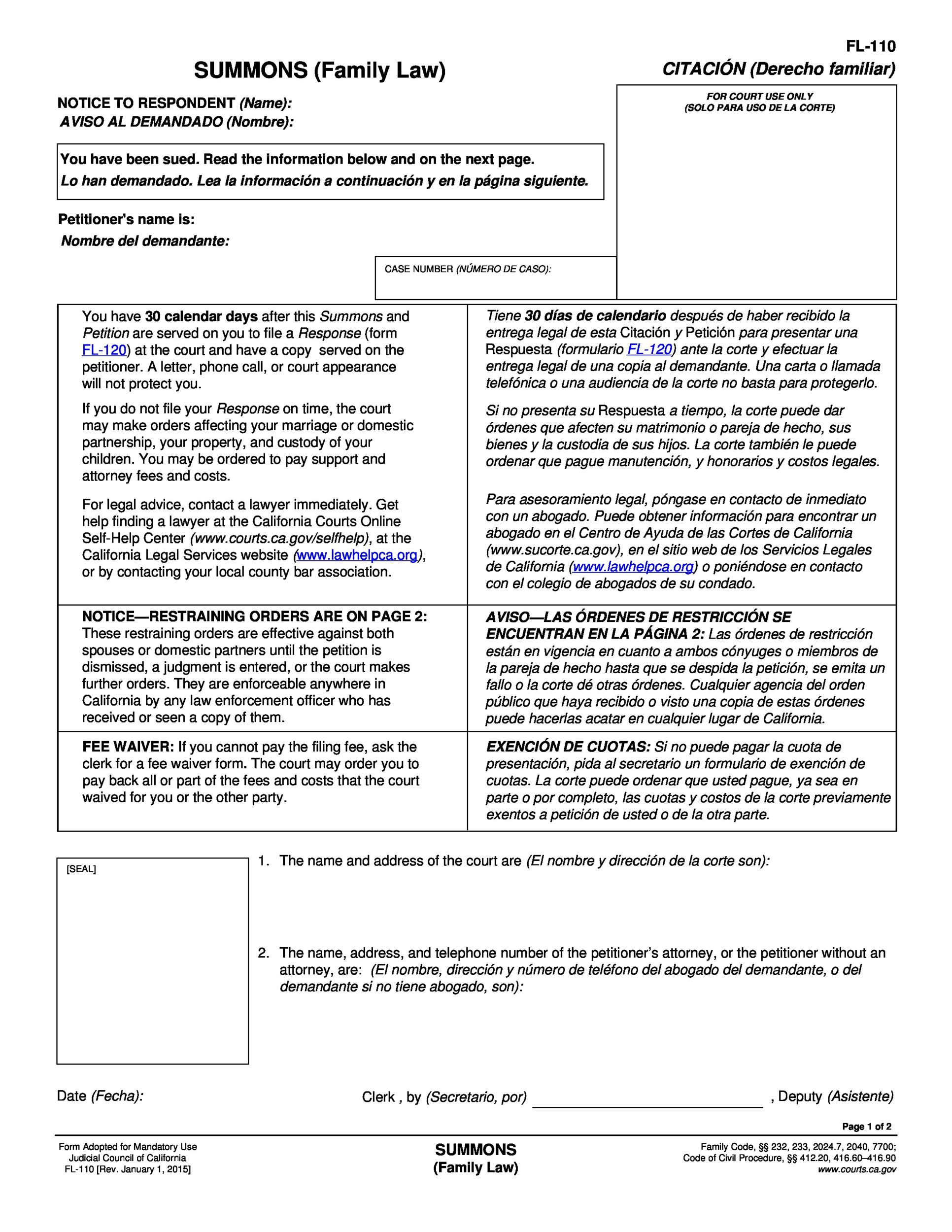 Free Divorce Papers Printable Template Lab - California legal documents