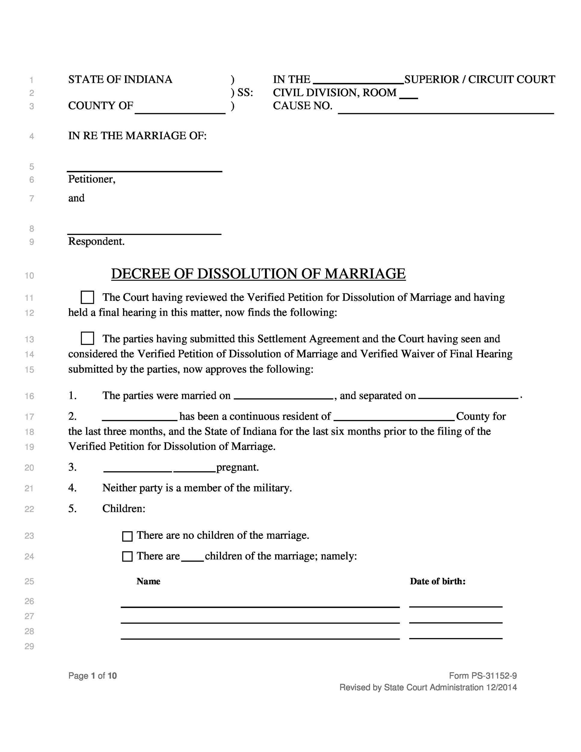 40 free divorce papers  printable   u1405 template lab