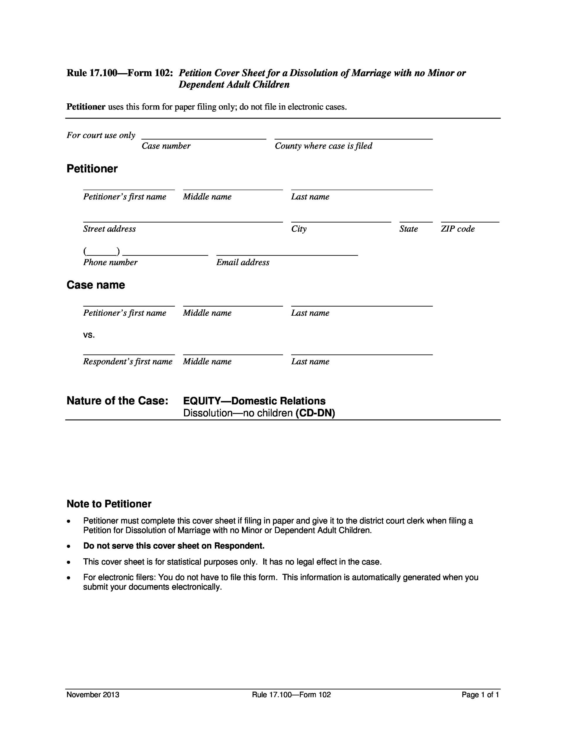 Free Divorce Papers Template 13